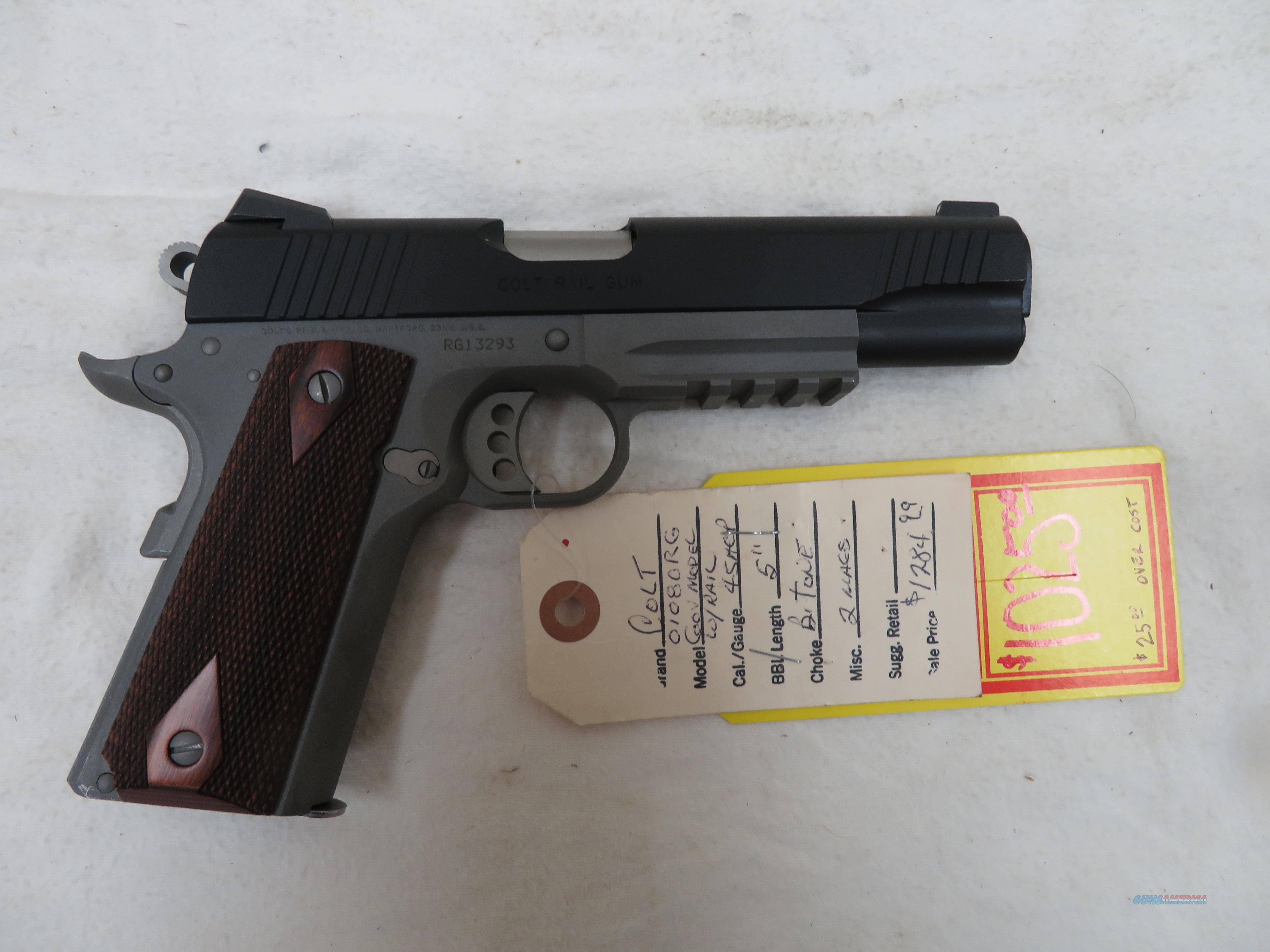 "COLT 1911 GOVERNMENT RAIL GUN .45ACP 5""  Guns > Pistols > Colt Automatic Pistols (1911 & Var)"