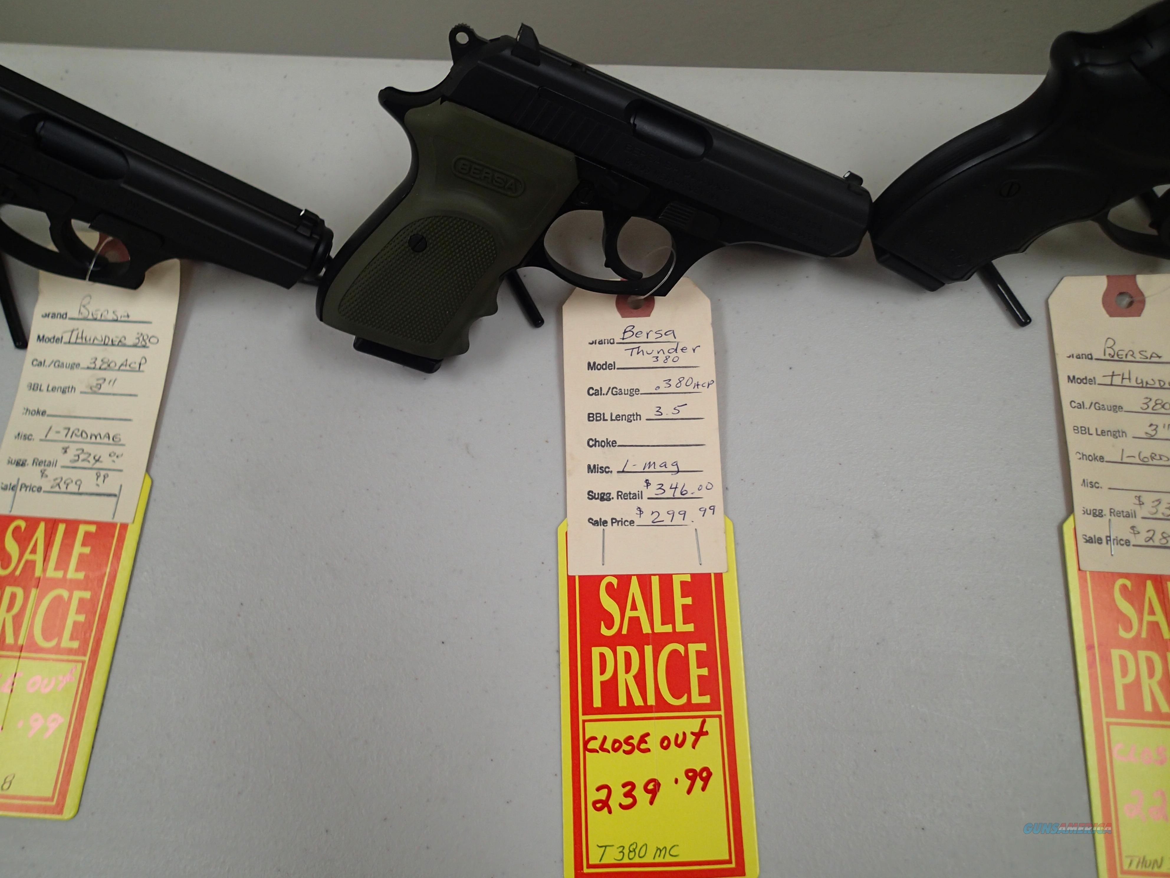 Bersa thunder Blue with Green Grip NIB Closeout Prices (90367)  Guns > Pistols > Bersa Pistols
