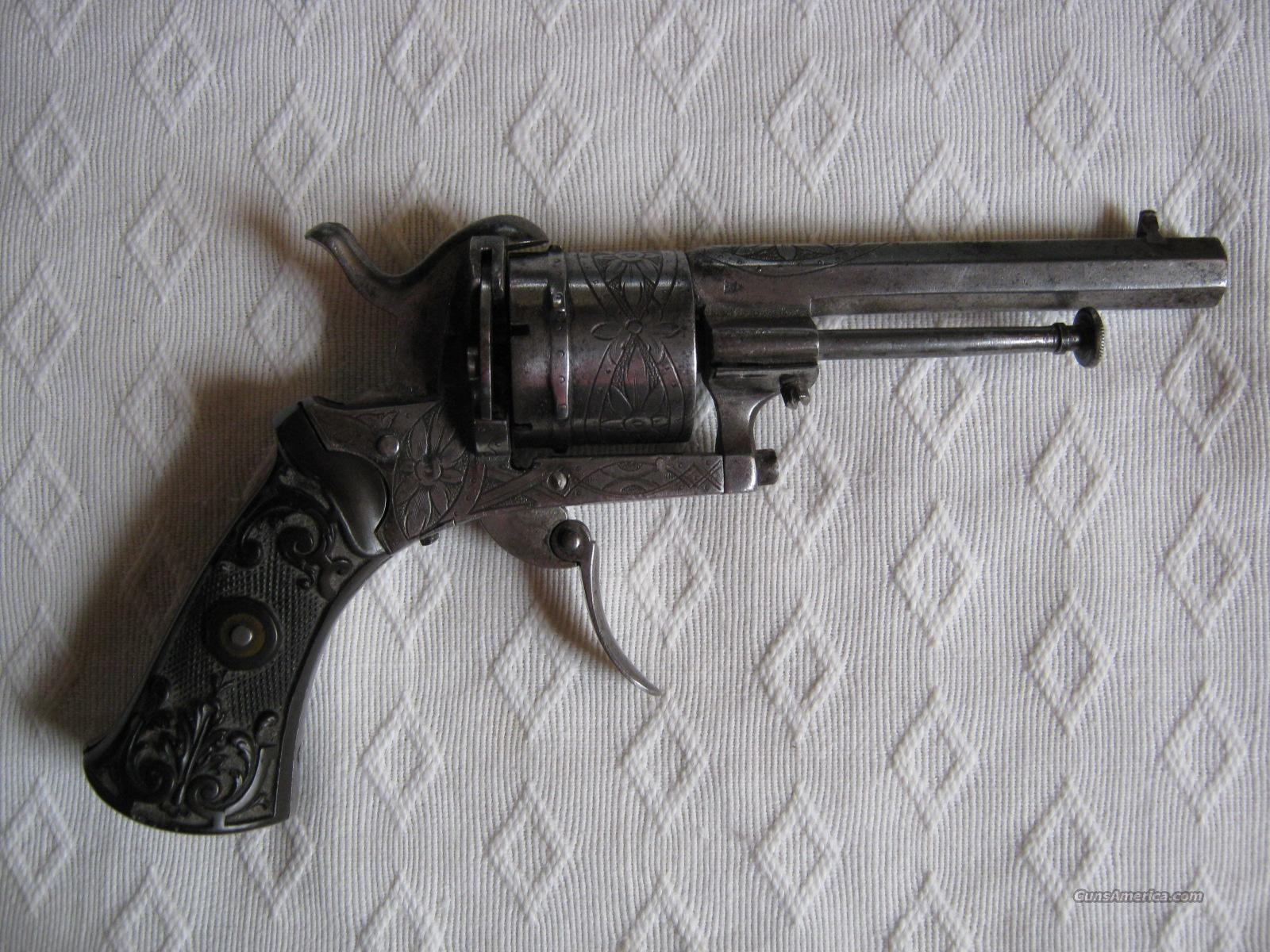 Engraved Pin Fire Revolver  Guns > Pistols > Antique (Pre-1899) Pistols - Perc. Misc.