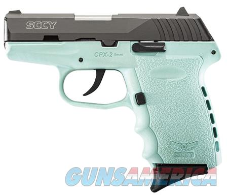 "SCCY Industries CPX2CBSB CPX-2 Double 9mm 3.1"" 10+1 Robin Egg Blue Polymer Grip/Frame Grip Black Nitride Stainless Steel  Guns > Pistols > SCCY Pistols > CPX2"