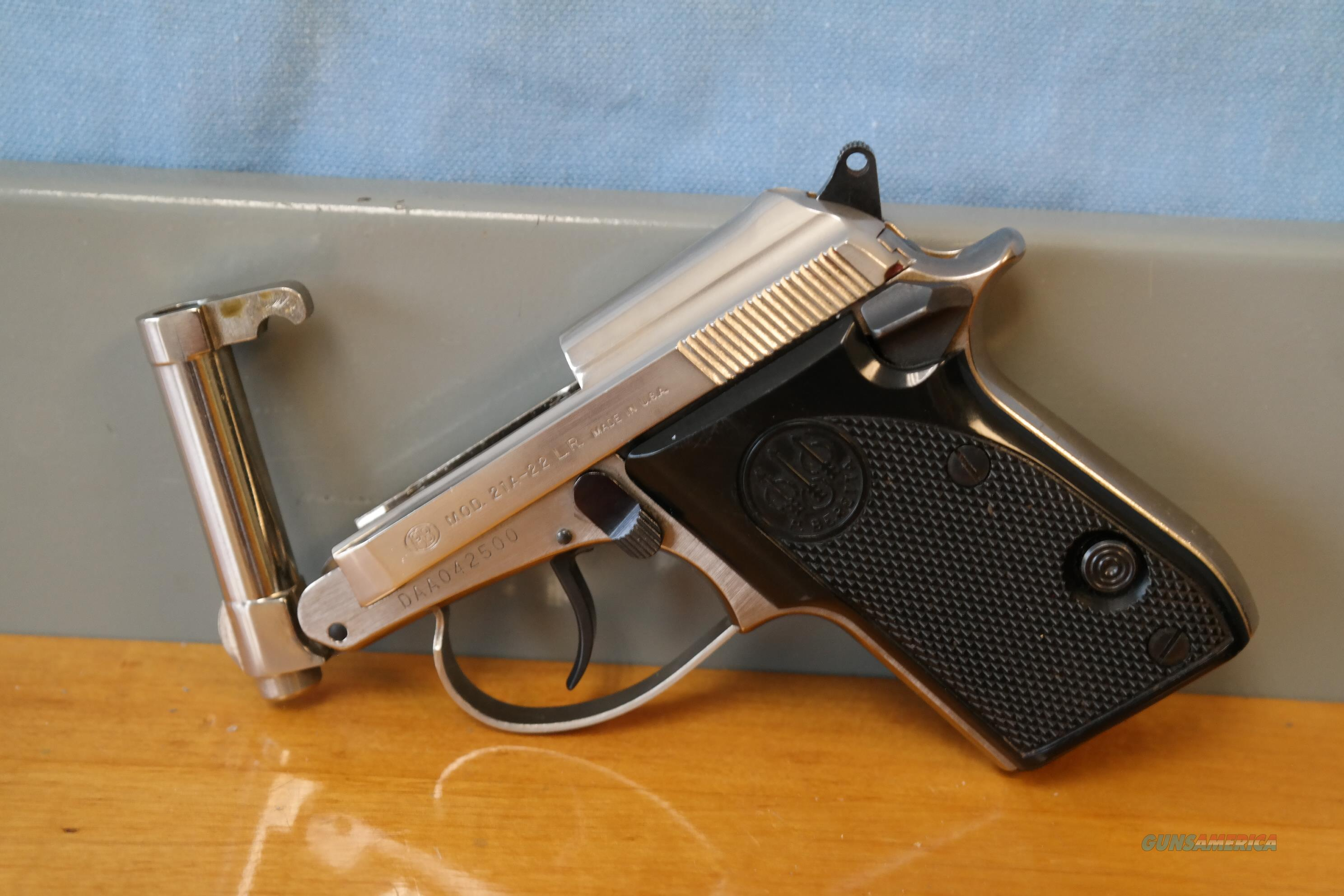 Beretta 21A Nickel Finish .22 LR Tip Up  Guns > Pistols > Beretta Pistols > Small Caliber Tip Out