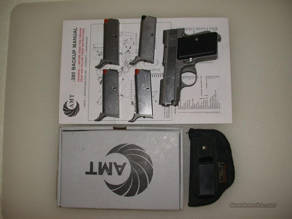 NOS AMT .380 BACKUP 4 CLIPS BOX MANUAL HOLSTER   Guns > Pistols > AMT Pistols > Double Action