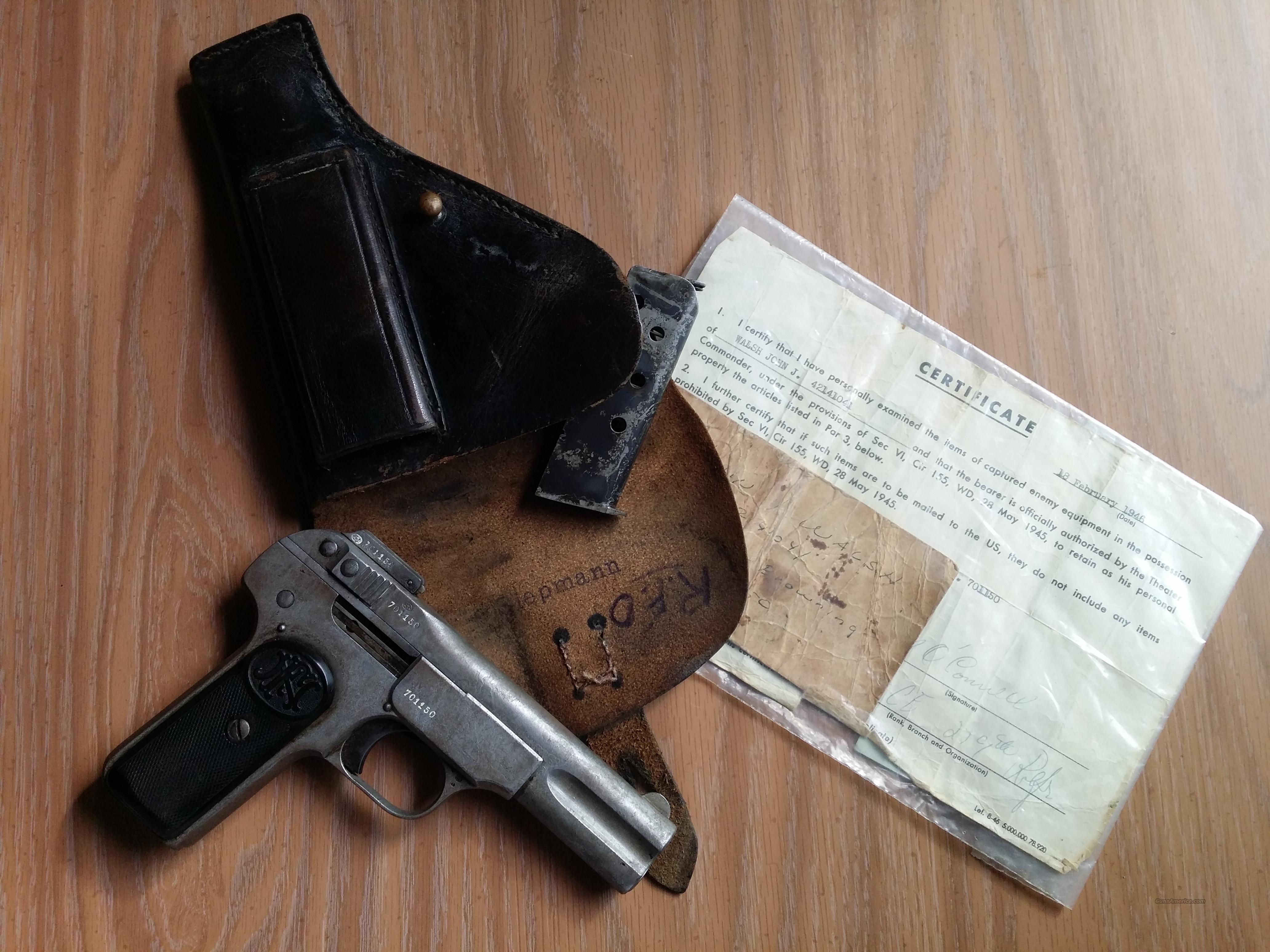 ! Browning FN 1900 - with WWII Bring-Back Documentation !!  Guns > Pistols > FNH - Fabrique Nationale (FN) Pistols > Pre-War