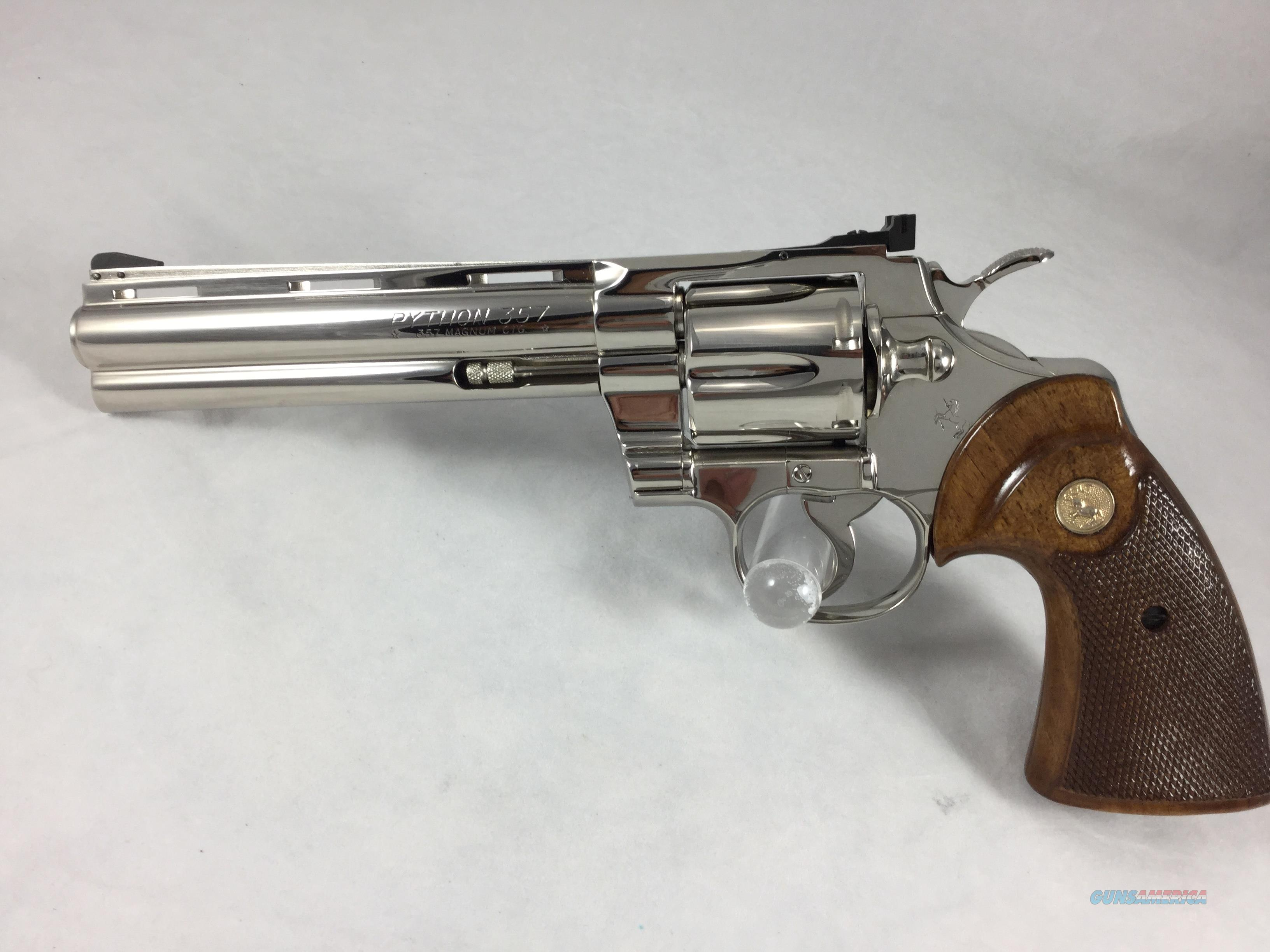 "Colt Python 6"" bright nickel 357 magnum  Guns > Pistols > Colt Double Action Revolvers- Modern"