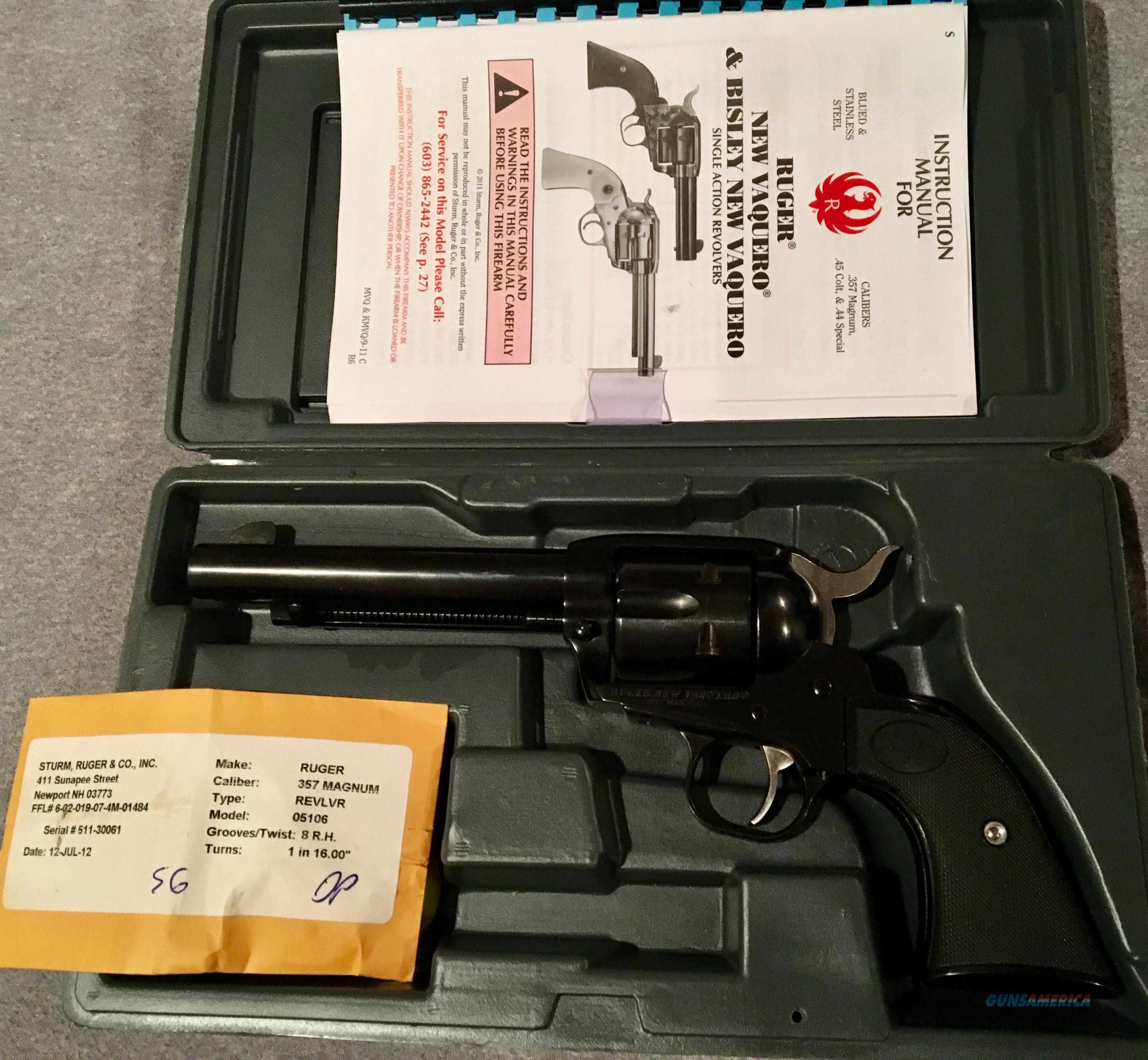 Ruger Model# 5106 NV35 New Vaquero Like New   Guns > Pistols > Ruger Single Action Revolvers > Blackhawk Type