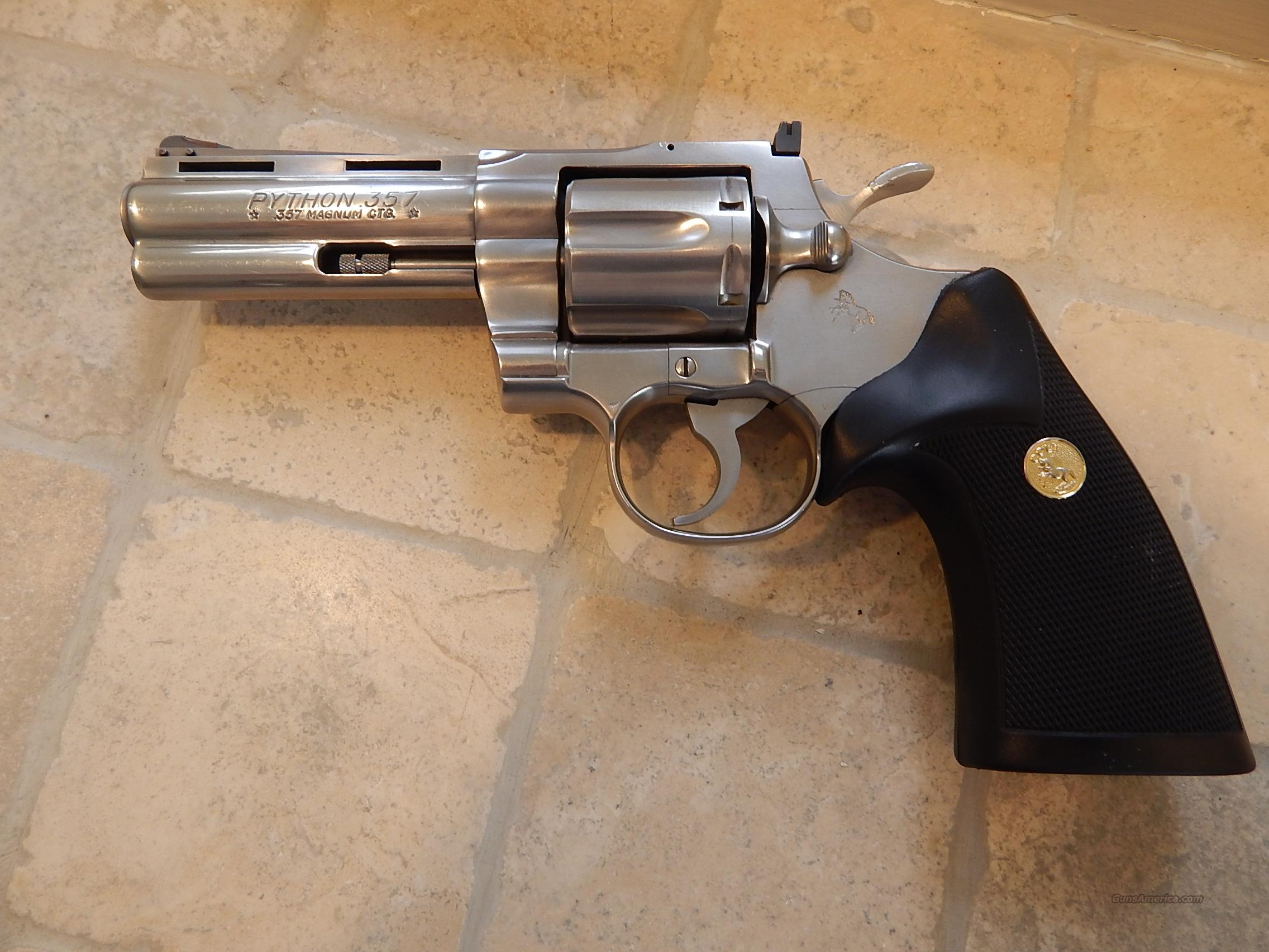 "Colt Python 4"" Brushed Stainless 98%  Guns > Pistols > Colt Double Action Revolvers- Modern"