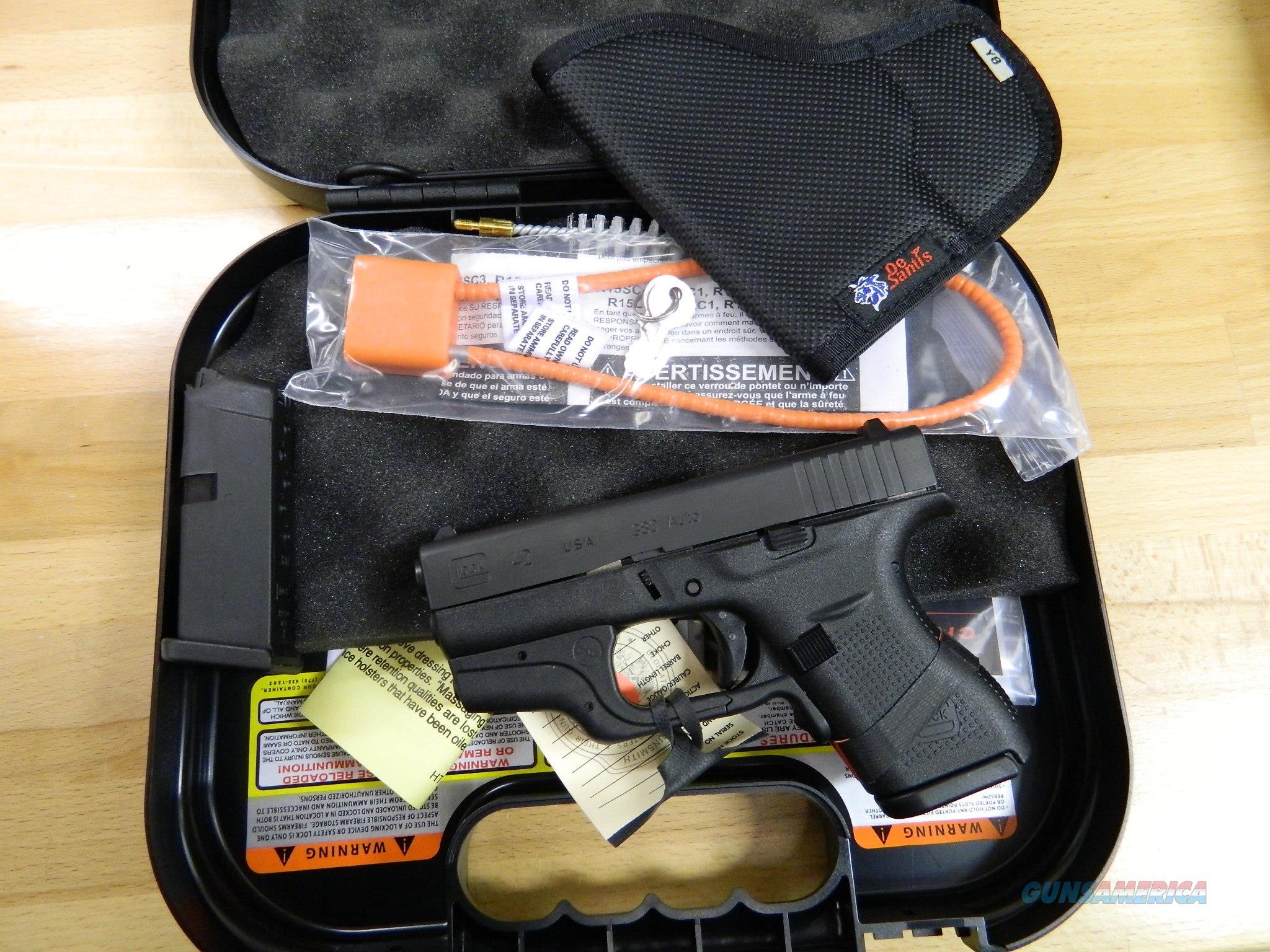 GLOCK 42 with Crimson Trace Laser New in Box , holster  .380 ACP  Guns > Pistols > Glock Pistols > 42