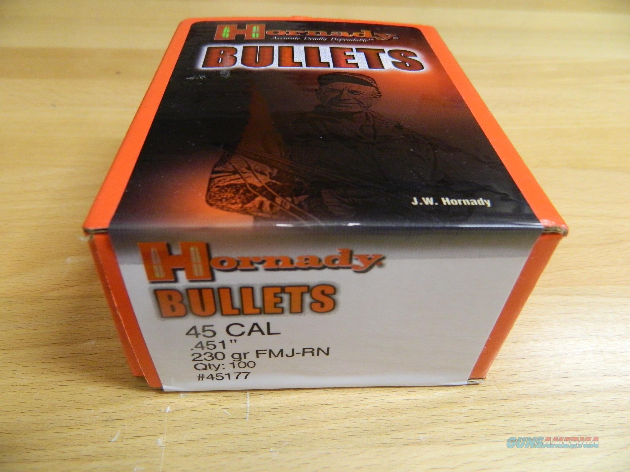 Hornady .45 Cal Bullets  230gr FMJ-RN  Non-Guns > Ammunition