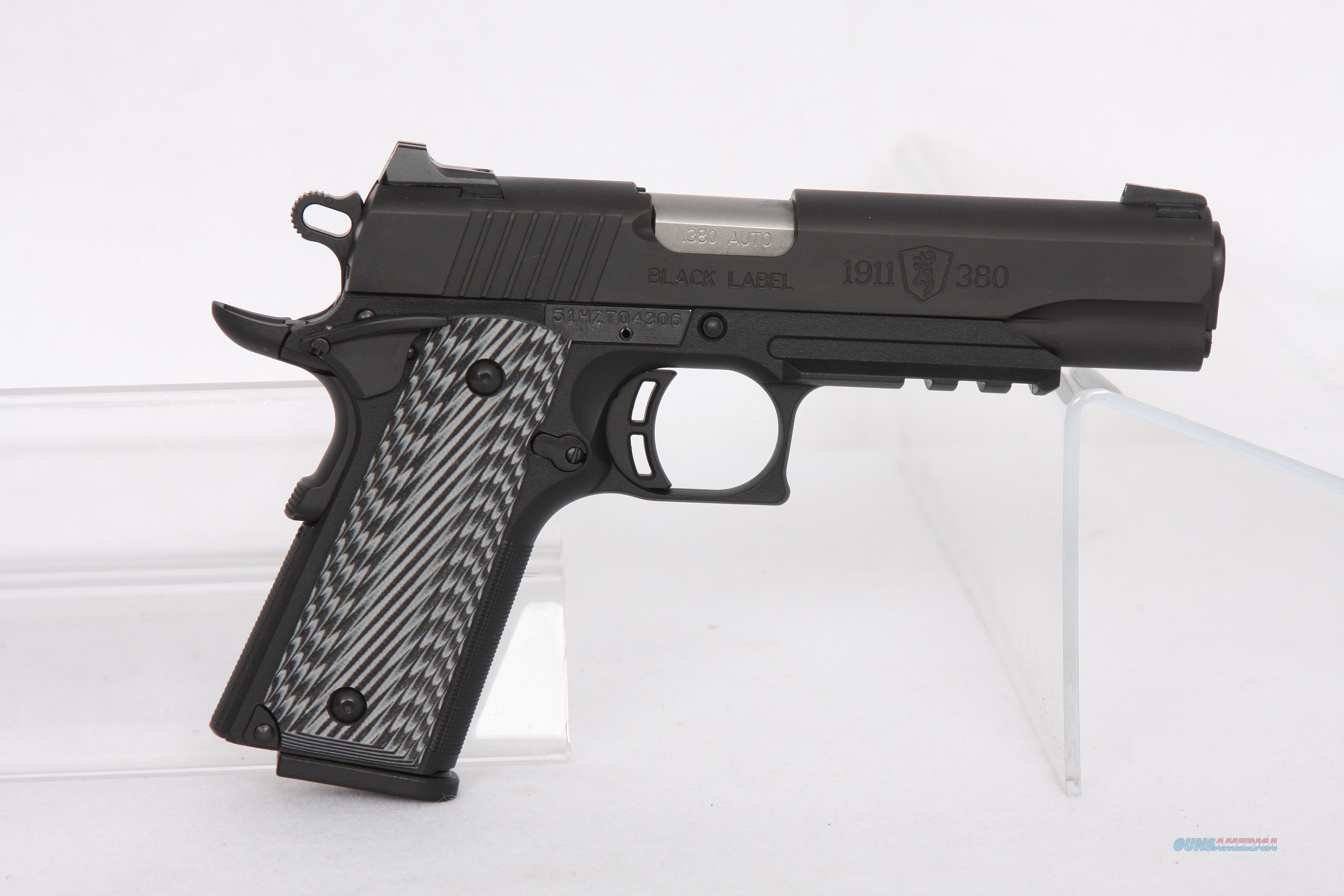 Browning Black Label 1911-380 Pro With Rail Night Sight 4.25  Guns > Pistols > Browning Pistols > Other Autos