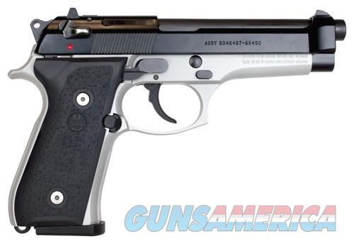 "BERETTA 92FS TWO-TONE 9MM 4.9"" 15-SH BLACK SLIDE/INOX FRAME 3 MAGS  Guns > Pistols > Beretta Pistols > Model 92 Series"
