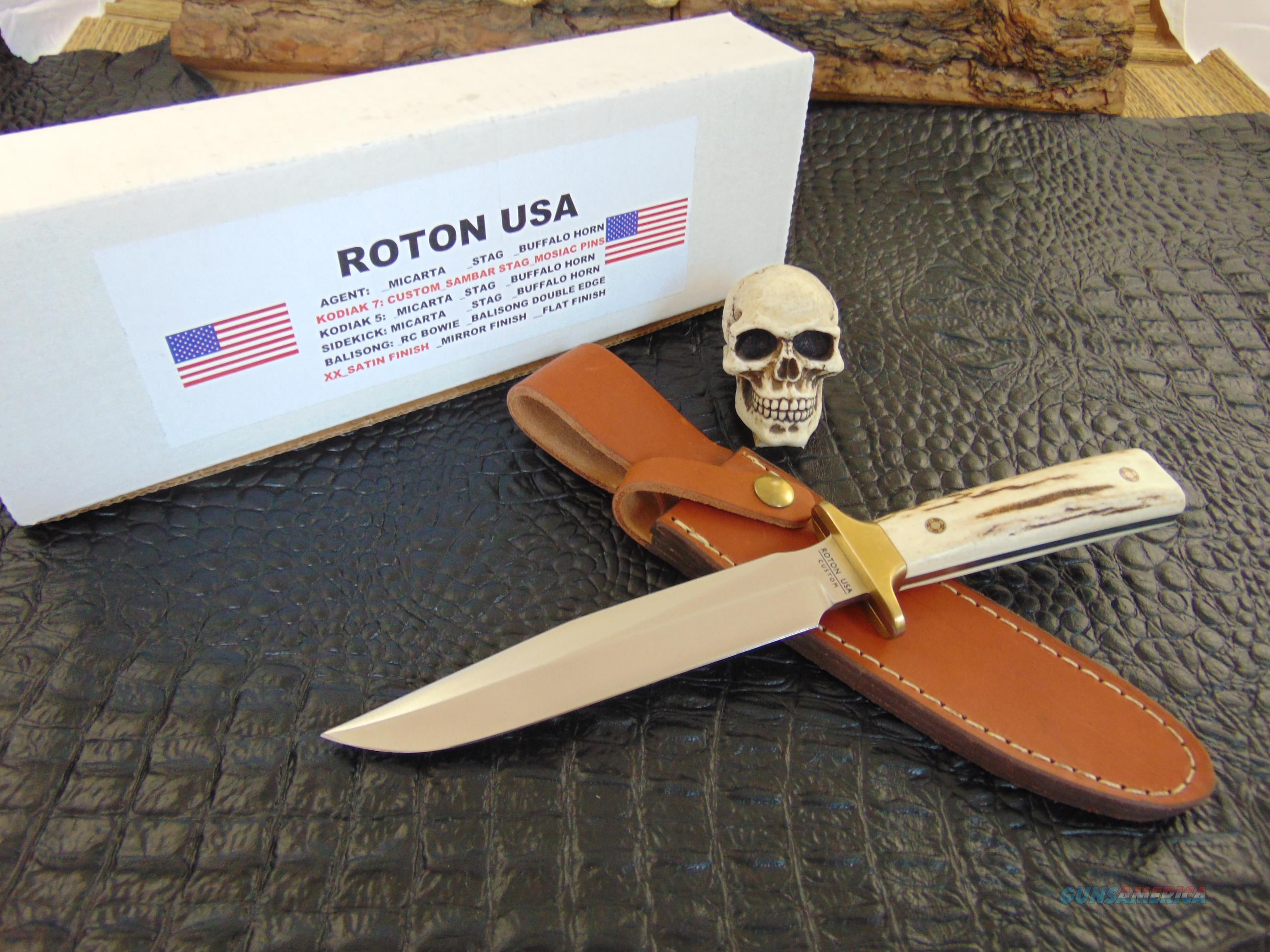 Roton USA Knives Custom Handmade Stag Handled Kodiak 7 Bowie  Non-Guns > Knives/Swords > Knives > Fixed Blade > Hand Made