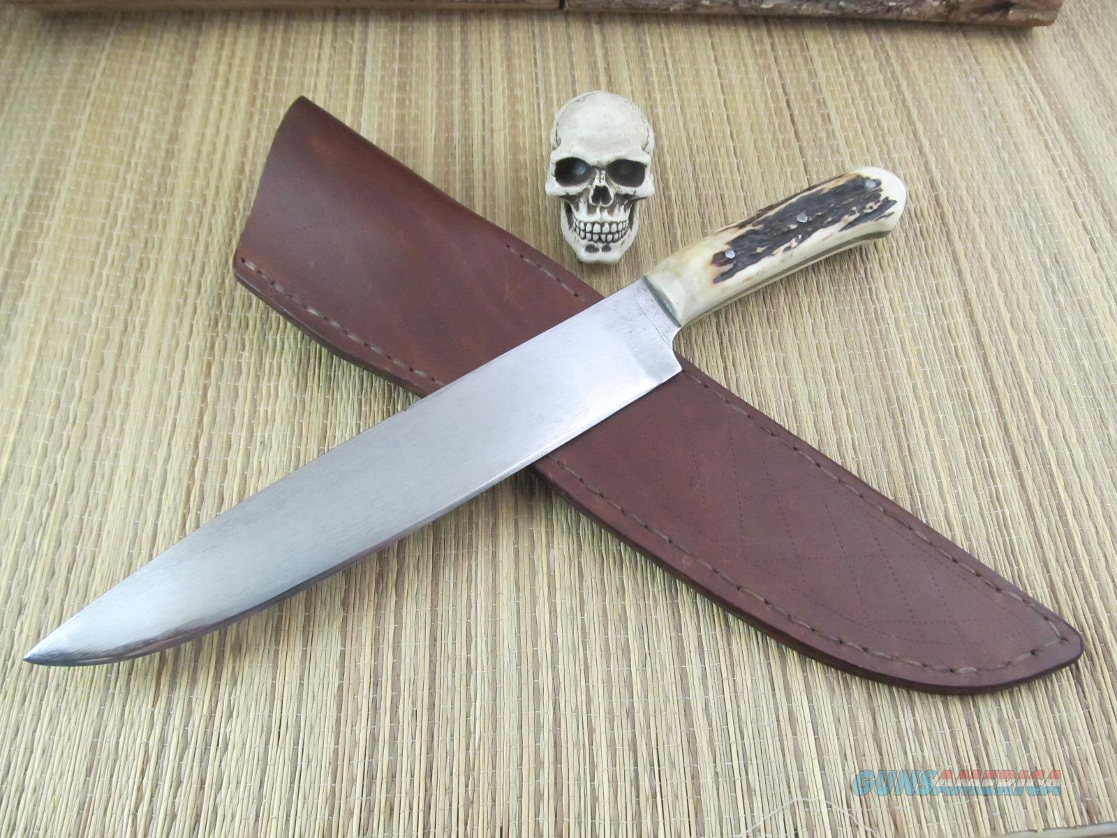 Colin Cox Jr Custom Handmade Huge Stag Bowie  Non-Guns > Knives/Swords > Knives > Fixed Blade > Hand Made