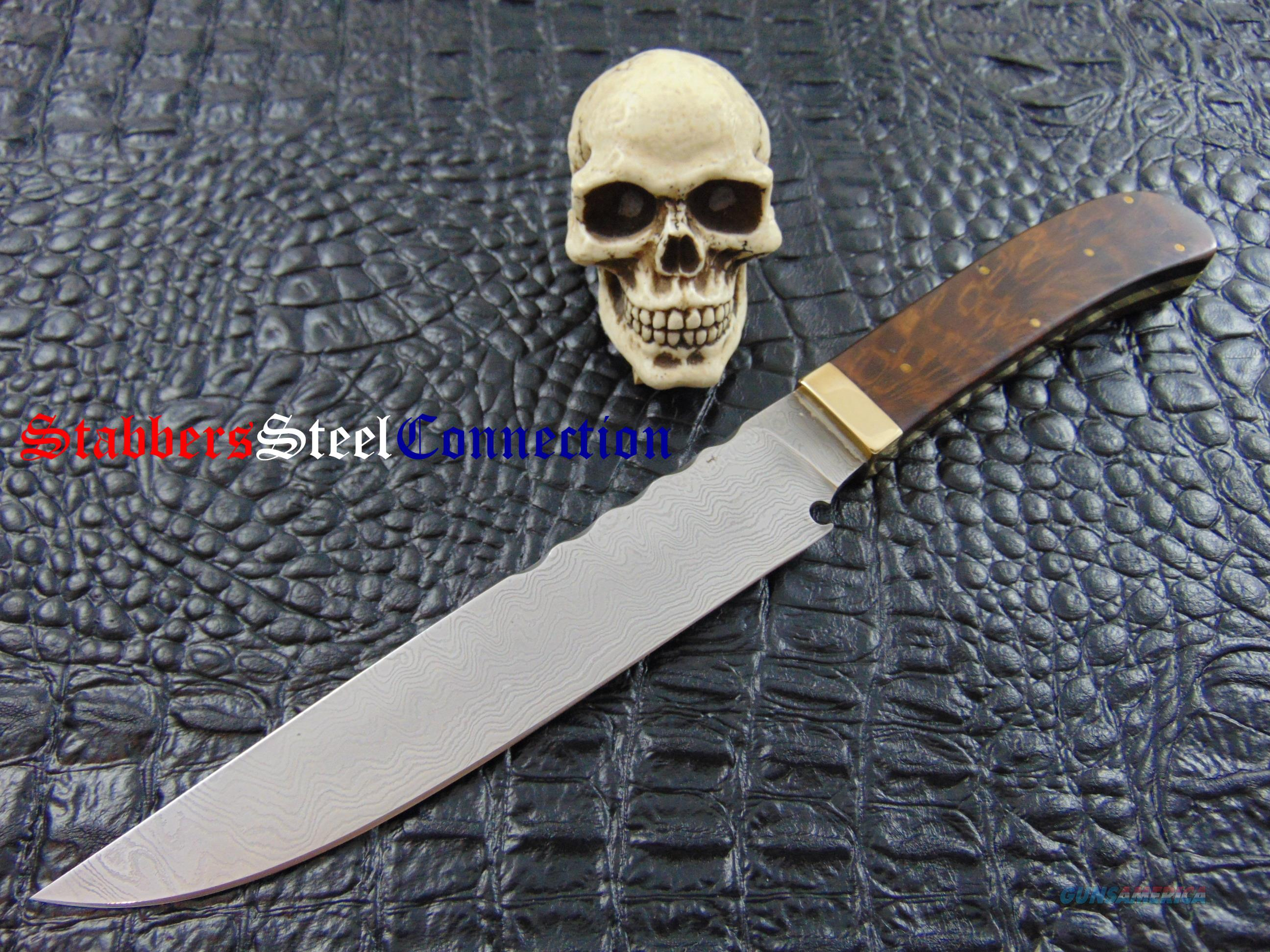 Jim Crowell MS Damascus Bowie in Wood Presentation Box  Non-Guns > Knives/Swords > Knives > Folding Blade > Hand Made