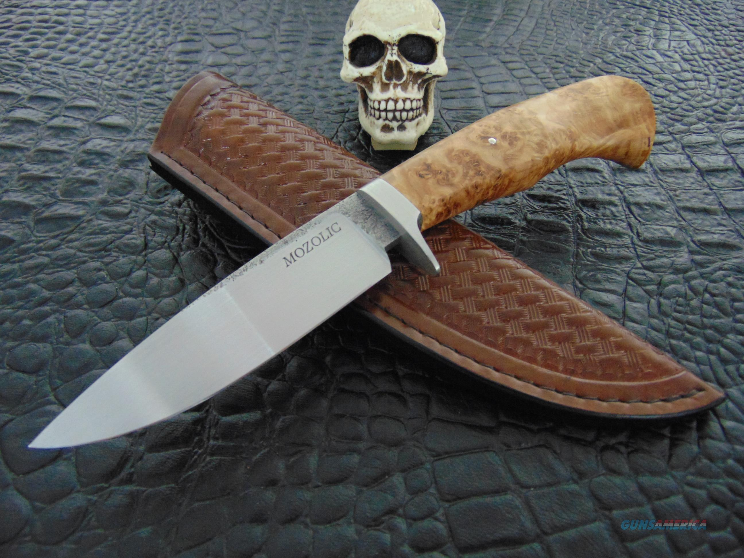 Milan Mozolic Hand Forged Curly Maple Burl Hunting / EDC Knife  Non-Guns > Knives/Swords > Knives > Fixed Blade > Hand Made