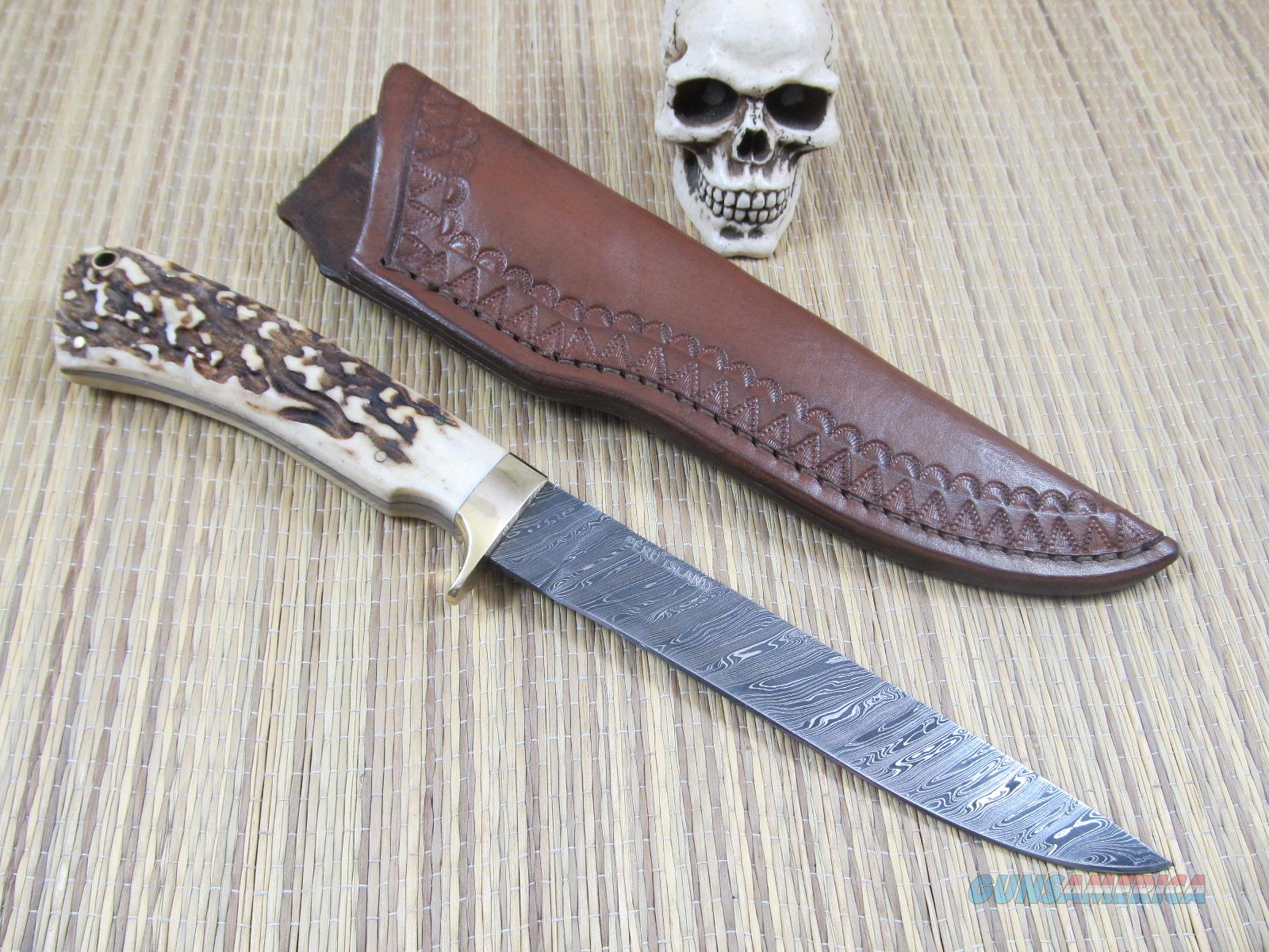 Peru Island Custom Made Gorgeous Stag Damascus Hunter/Fighter  Non-Guns > Knives/Swords > Knives > Fixed Blade > Hand Made