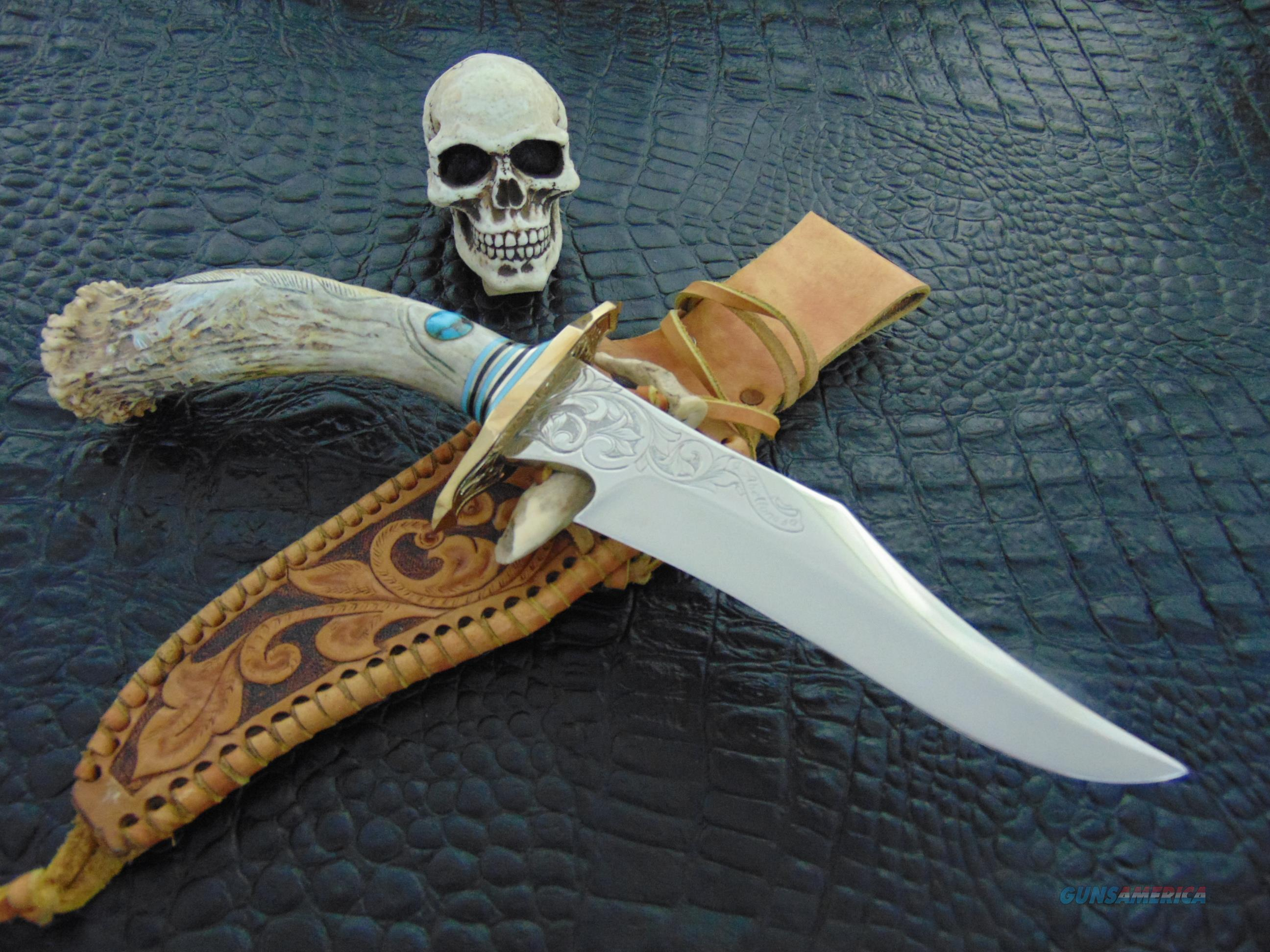J Abellanosa Custom Engraved & Carved Crown Stag Hunter  Non-Guns > Knives/Swords > Knives > Fixed Blade > Hand Made