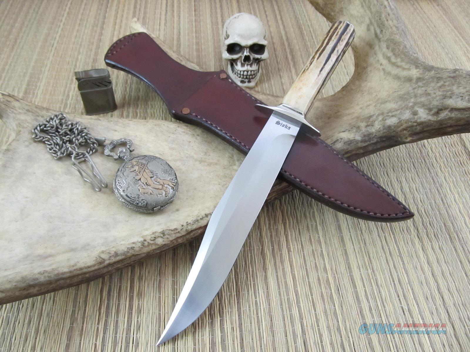 Jim Siska Custom Gorgeous Clip Point Stag Bowie  Non-Guns > Knives/Swords > Knives > Fixed Blade > Hand Made