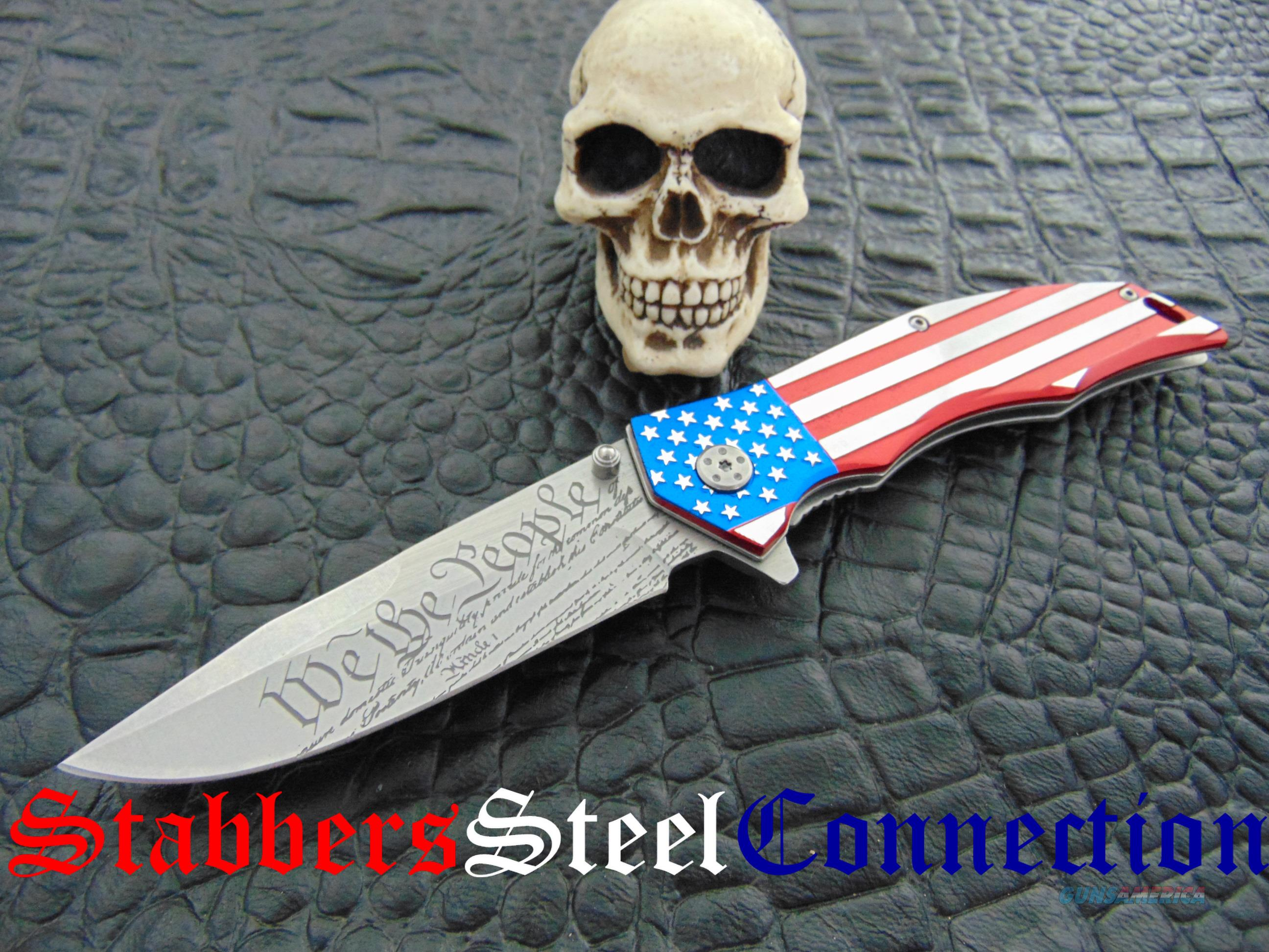 M-TECH American Flag & We The People Spring Assisted Folder  Non-Guns > Knives/Swords > Knives > Fixed Blade > Hand Made