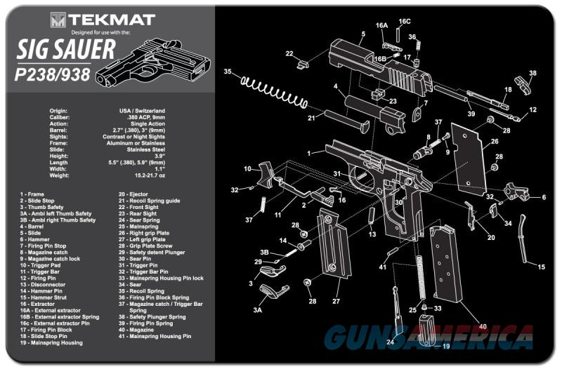 TEKMAT Armorers Bench Mat – Sig Sauer P238 and P938  Non-Guns > Gunsmith Tools/Supplies