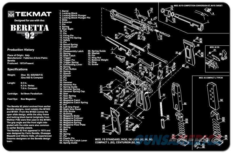 TEKMAT Armorers Bench Mat – Beretta 92/M9  Non-Guns > Gunsmith Tools/Supplies
