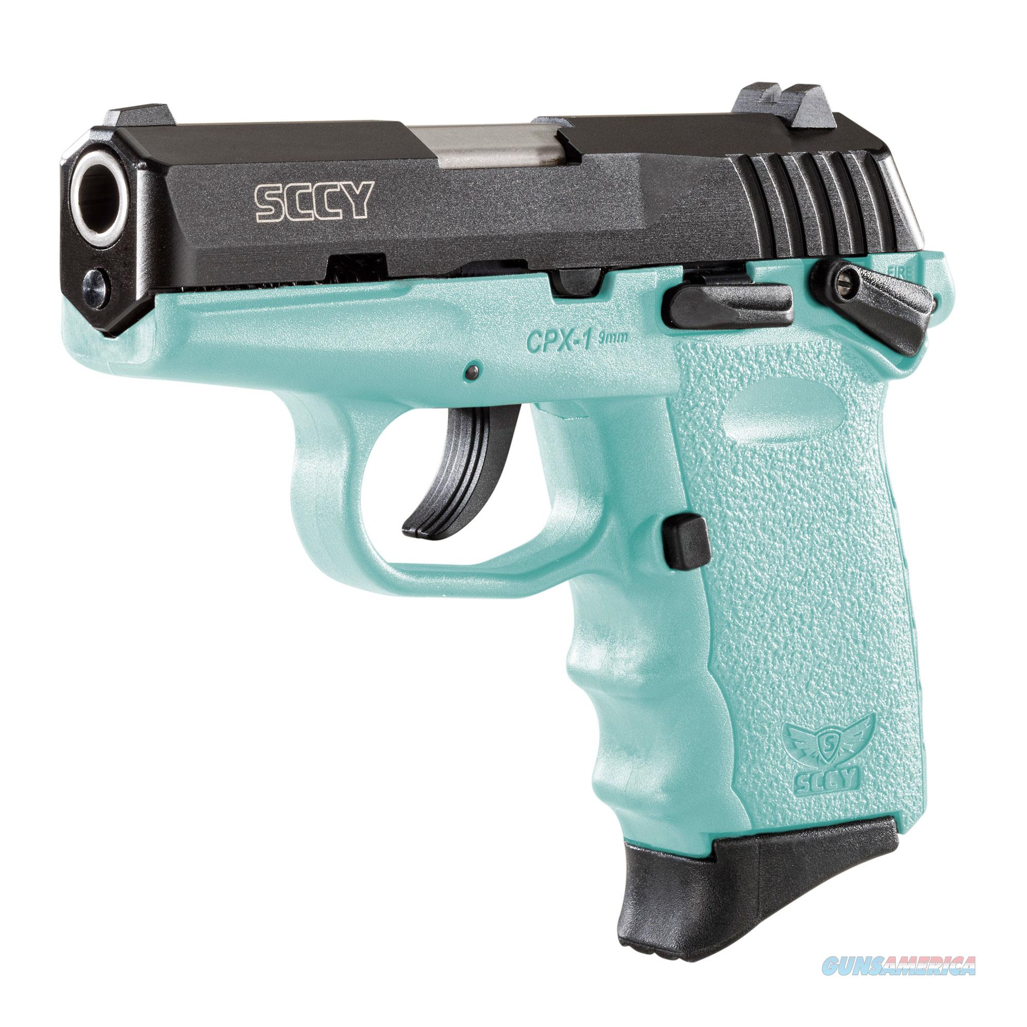 SCCY CPX-1 9mm Auto Pistol with Safety – Black/Robin Egg Blue - New in Box  Guns > Pistols > SCCY Pistols > CPX1