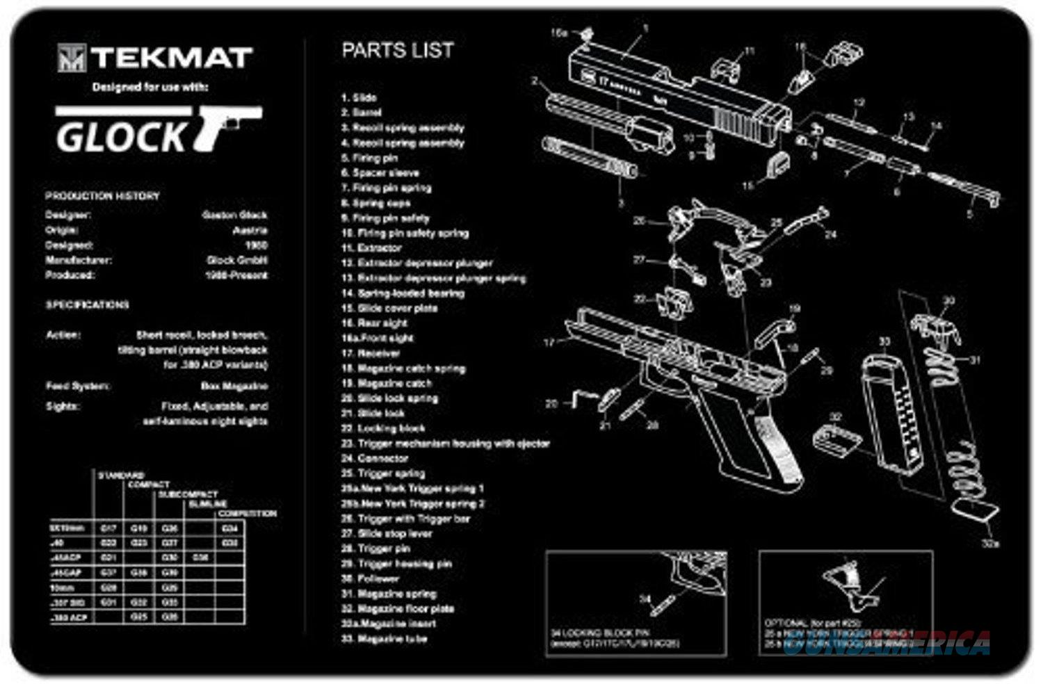 Tekmat Armorers Bench Mat Glock 17 Gen 3 For Sale