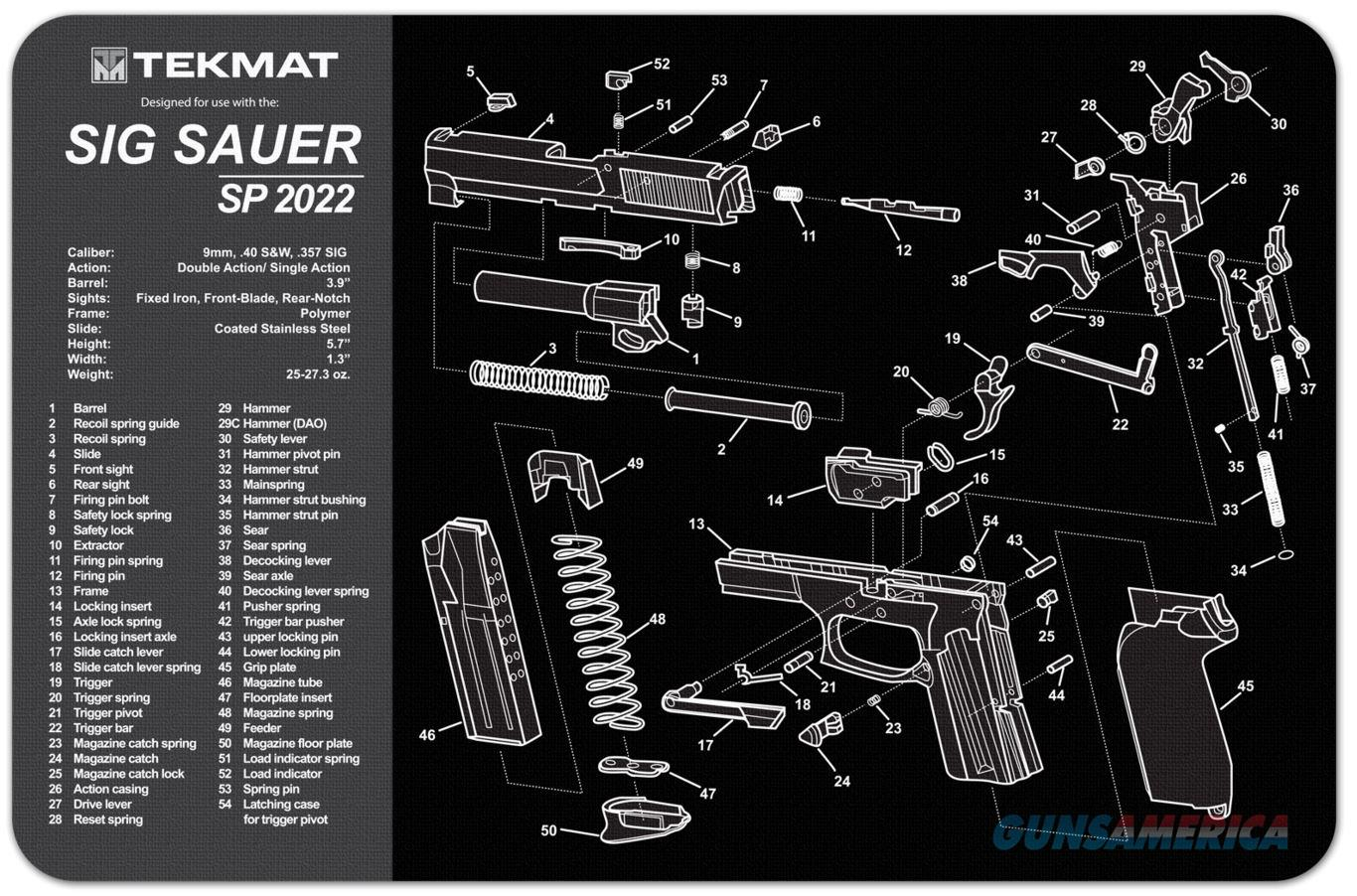 TEKMAT Armorers Bench Mat – Sig Sauer® SP2022®  Non-Guns > Gunsmith Tools/Supplies