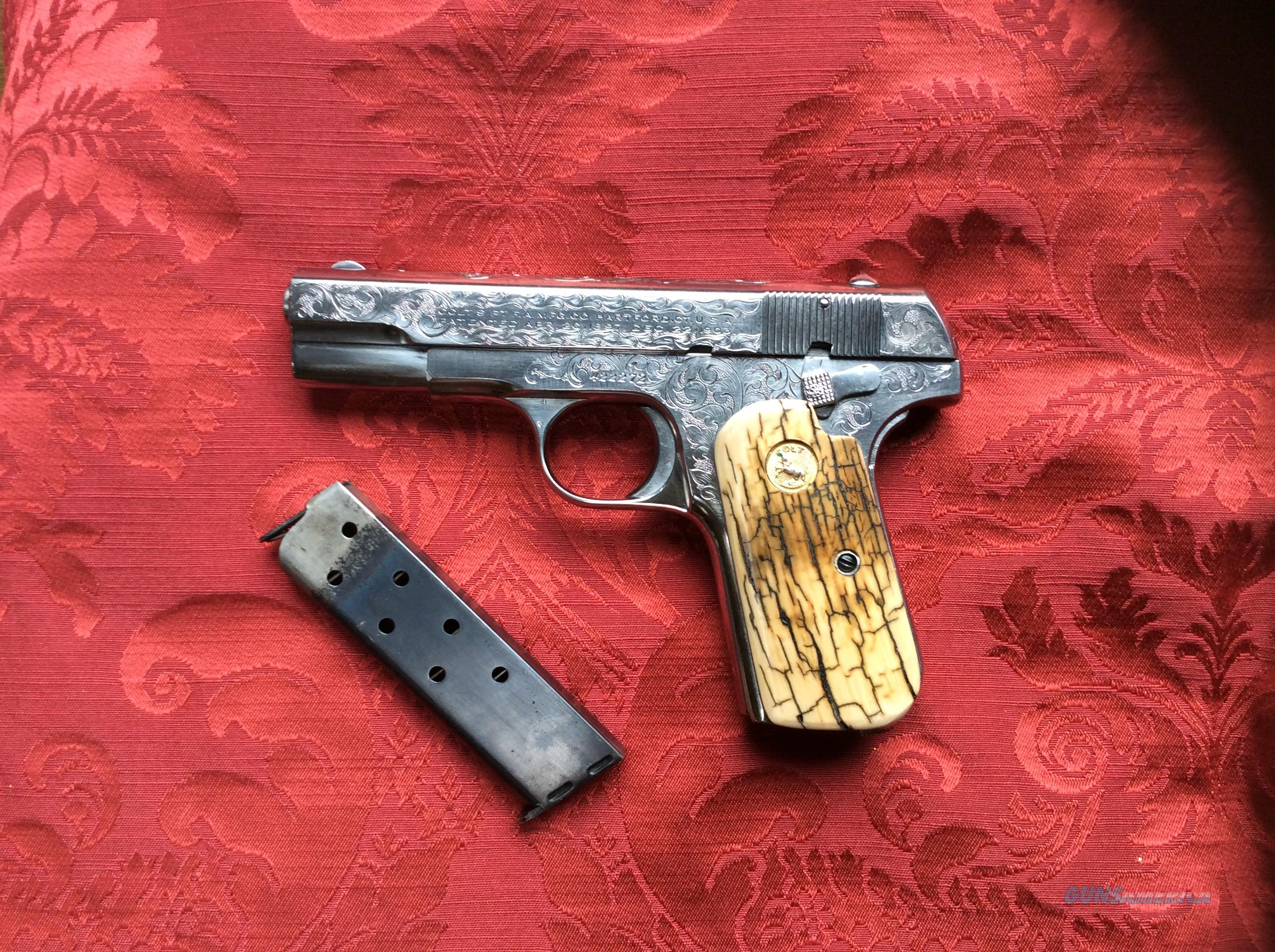COLT 1903 Engraved, nickel with Provenance 1922  Guns > Pistols > Colt Automatic Pistols (.25, .32, & .380 cal)