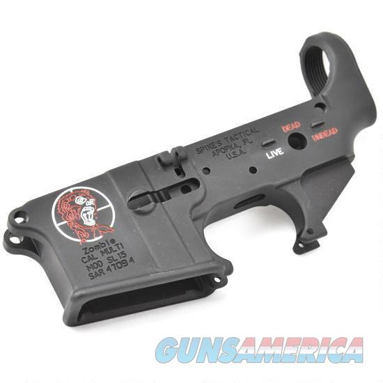 Spikes Tactical AR-15 Forged Stripped Lower Receiver Multi Caliber Zombie Logo Color Filled Aluminum Black   Guns > Rifles > Spikes Tactical Rifles