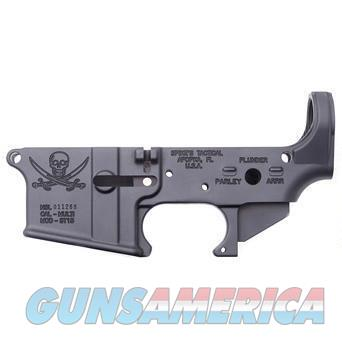 Spikes Tactical AR-15 Forged Stripped Lower Receiver Aluminum Jolly Roger Pirate Logo Black  Guns > Rifles > Spikes Tactical Rifles