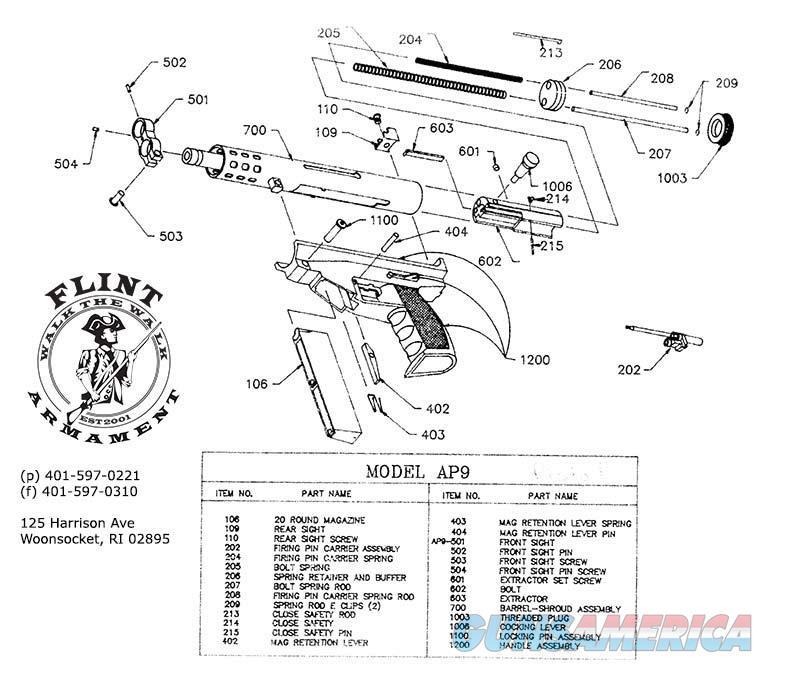 AA Arms AP-9 Kimel AP-9 AP9 Extractor #603  Non-Guns > Gun Parts > Misc > Pistols