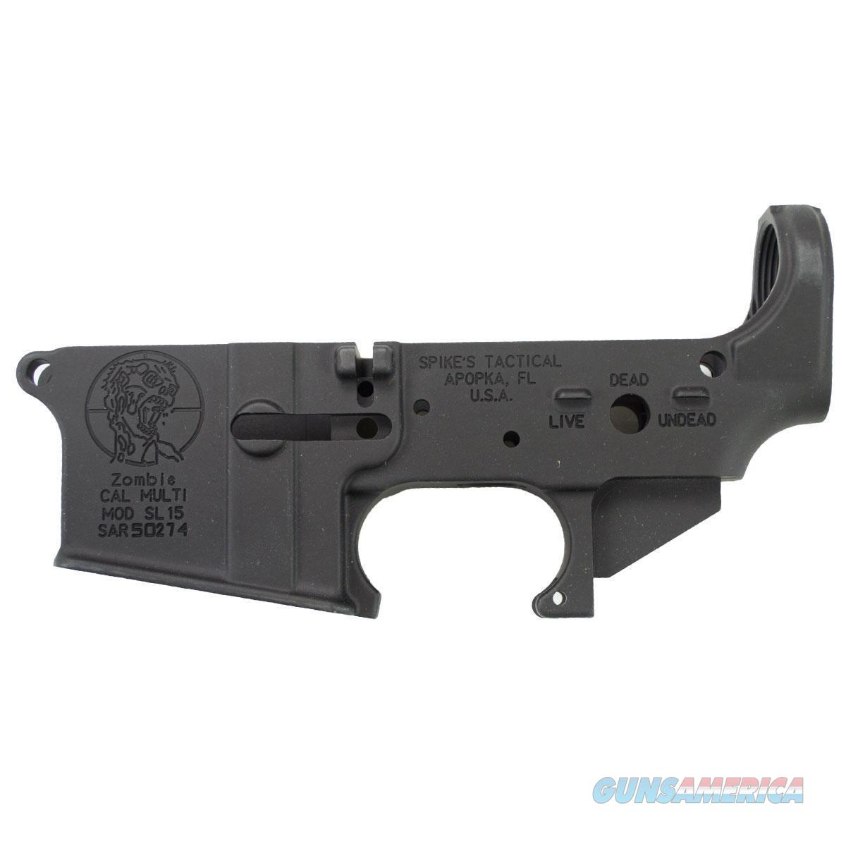 Spikes Tactical AR-15 Forged Stripped Lower Receiver Multi Caliber Forged Zombie Logo Non-Color Filled Aluminum Black  Guns > Rifles > Spikes Tactical Rifles
