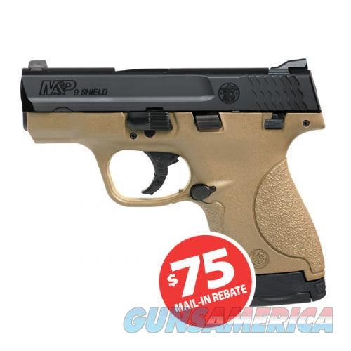 "Smith & Wesson 10303 M&P Shield Double 9mm Luger 3.1"" 7+1/8+1 3Dot Flat Dark Earth Polymer Grip/Frame Black Armornite Stainless Steel  Guns > Pistols > Smith & Wesson Pistols - Autos > Shield"