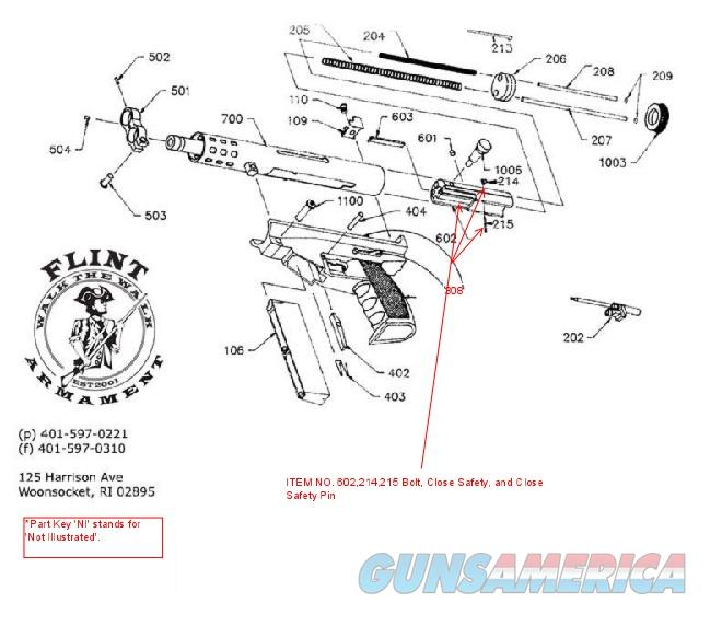 AA Arms Kimel AP9 Bolt with Close Safety and Close Safety Pin   Non-Guns > Gun Parts > Tactical Rails (Non-AR)