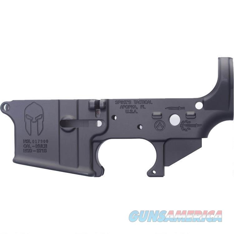 Spikes Tactical AR-15 Forged Stripped Lower Receiver Multi Caliber Forged Spartan Logo Non-Color Filled Aluminum Black  Guns > Rifles > Spikes Tactical Rifles