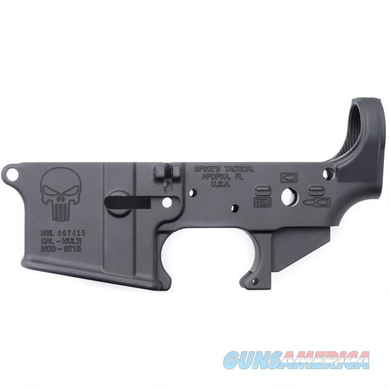 Spikes Tactical AR-15 Forged Stripped Lower Receiver Multi Caliber Punisher Logo Aluminum Black  Guns > Rifles > Spikes Tactical Rifles