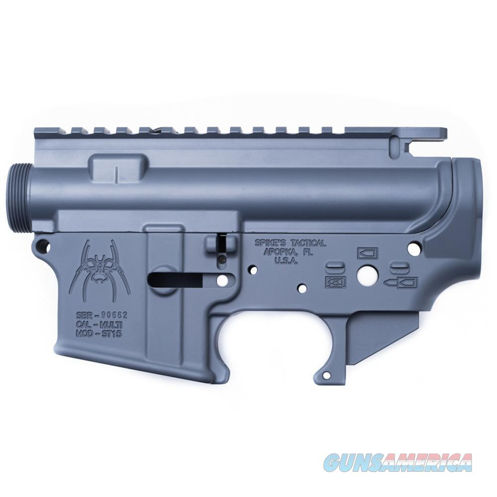 Spikes Tactical AR-15 Upper and Lower Stripped Receiver Set Aluminum Grey   Guns > Rifles > Spikes Tactical Rifles