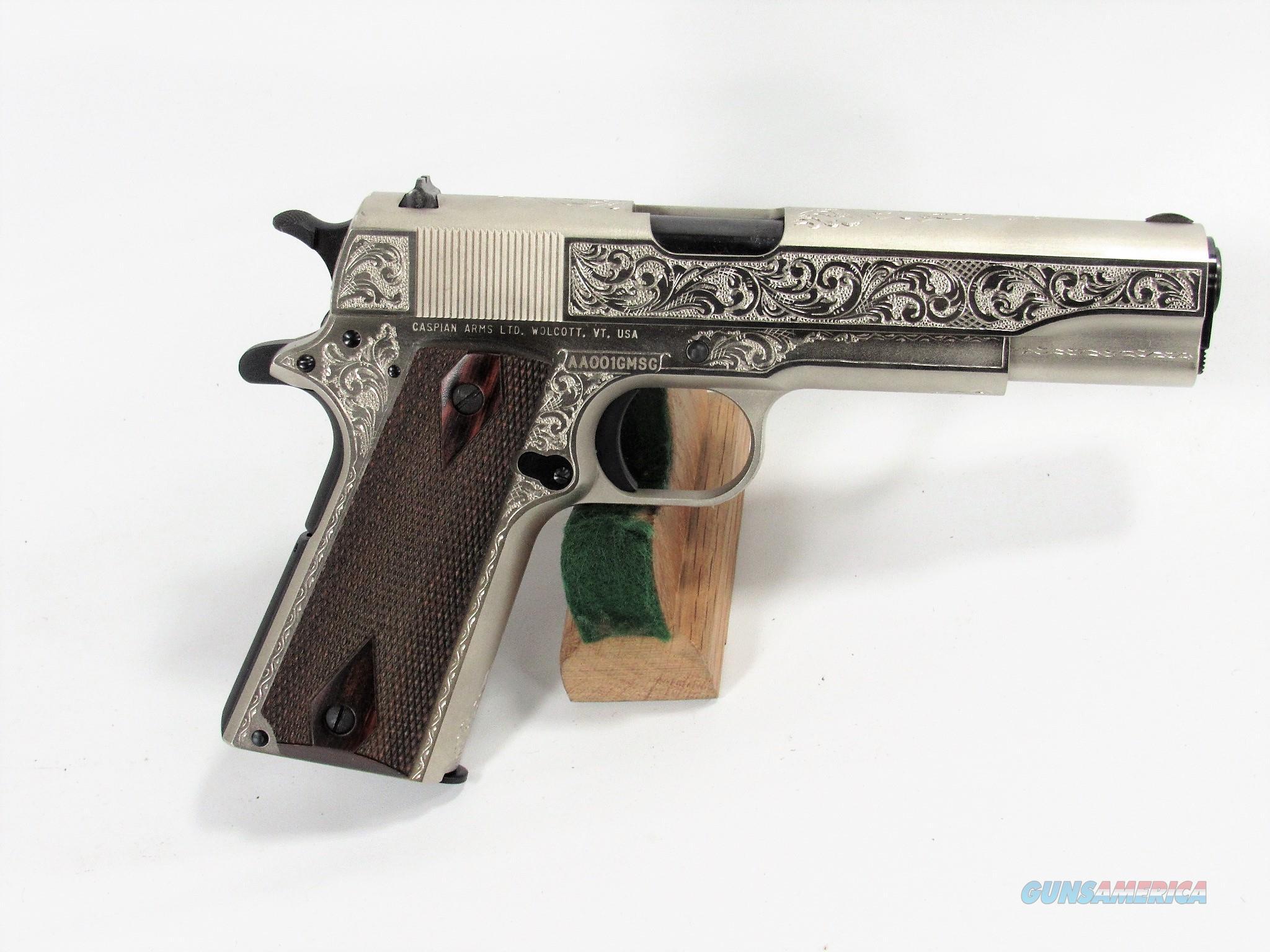 """40Y CASPIAN 1911 45ACP CUSTOM """"C"""" ENGRAVED BY JOHN ADAMS SR.  Guns > Pistols > Custom Pistols > 1911 Family"""