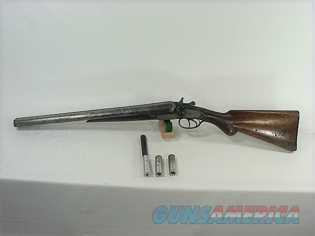 "242W T PARKER 12GA 18 ½"" SXS HAMMER GUN, WITH 2-410 AND 1-22LR INSERTS  Guns > Shotguns > Drilling & Combo Shotgun Rifle Combos"
