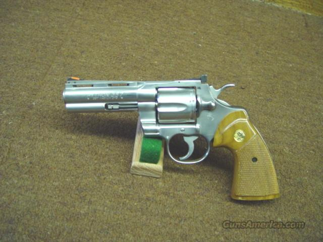 "63M COLT PYTHON 357 STAINLESS 4"", 98% WITH BOX   Guns > Pistols > Colt Single Action Revolvers - 3rd Gen."
