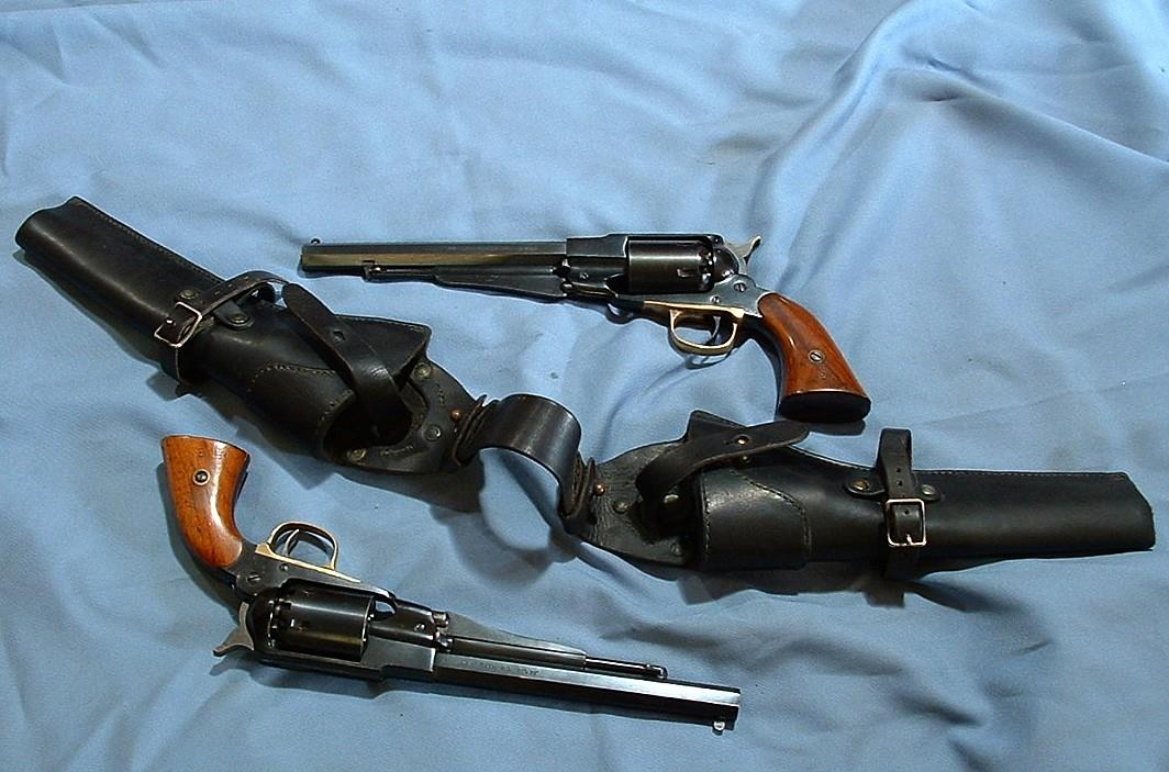 DOUBLE SET 1858 REMINGTONS WITH HORSE HOLSTERS  Guns > Pistols > Remington Replica Pistols