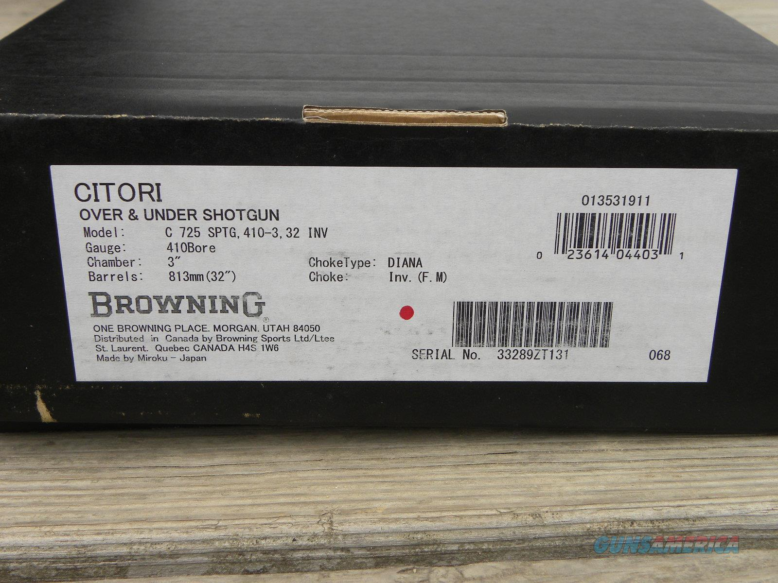 NIB Browning Citori 725 Sporting 410/32 013531911  Guns > Shotguns > Browning Shotguns > Over Unders > Citori > Hunting
