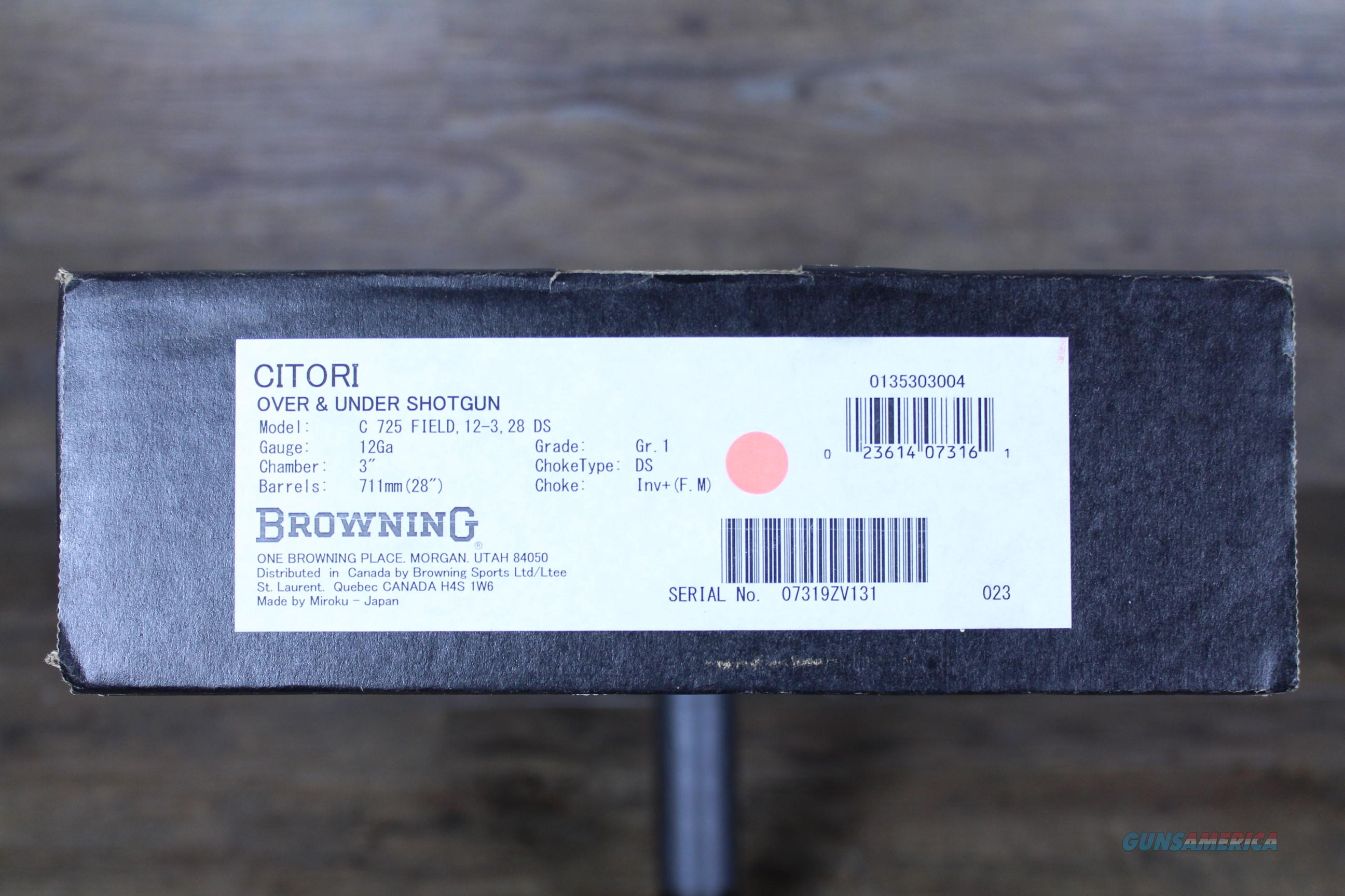 NIB Browning Citori 725 Field 12/28 0135303004  Guns > Shotguns > Browning Shotguns > Over Unders > Citori > Hunting