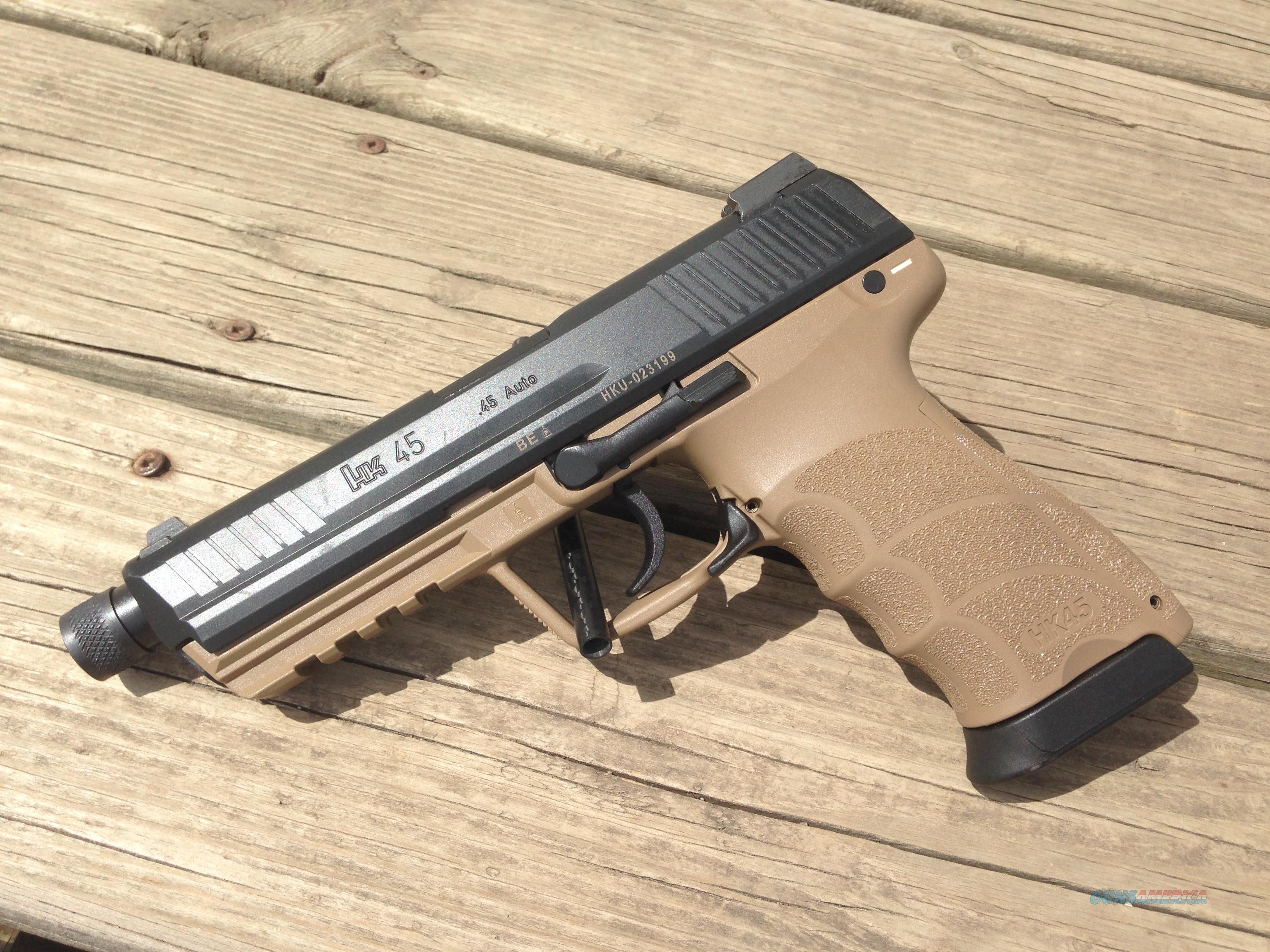 HK45 Tactical .45acp thhreaded DA ONLY 10+1  Guns > Pistols > Heckler & Koch Pistols > Polymer Frame