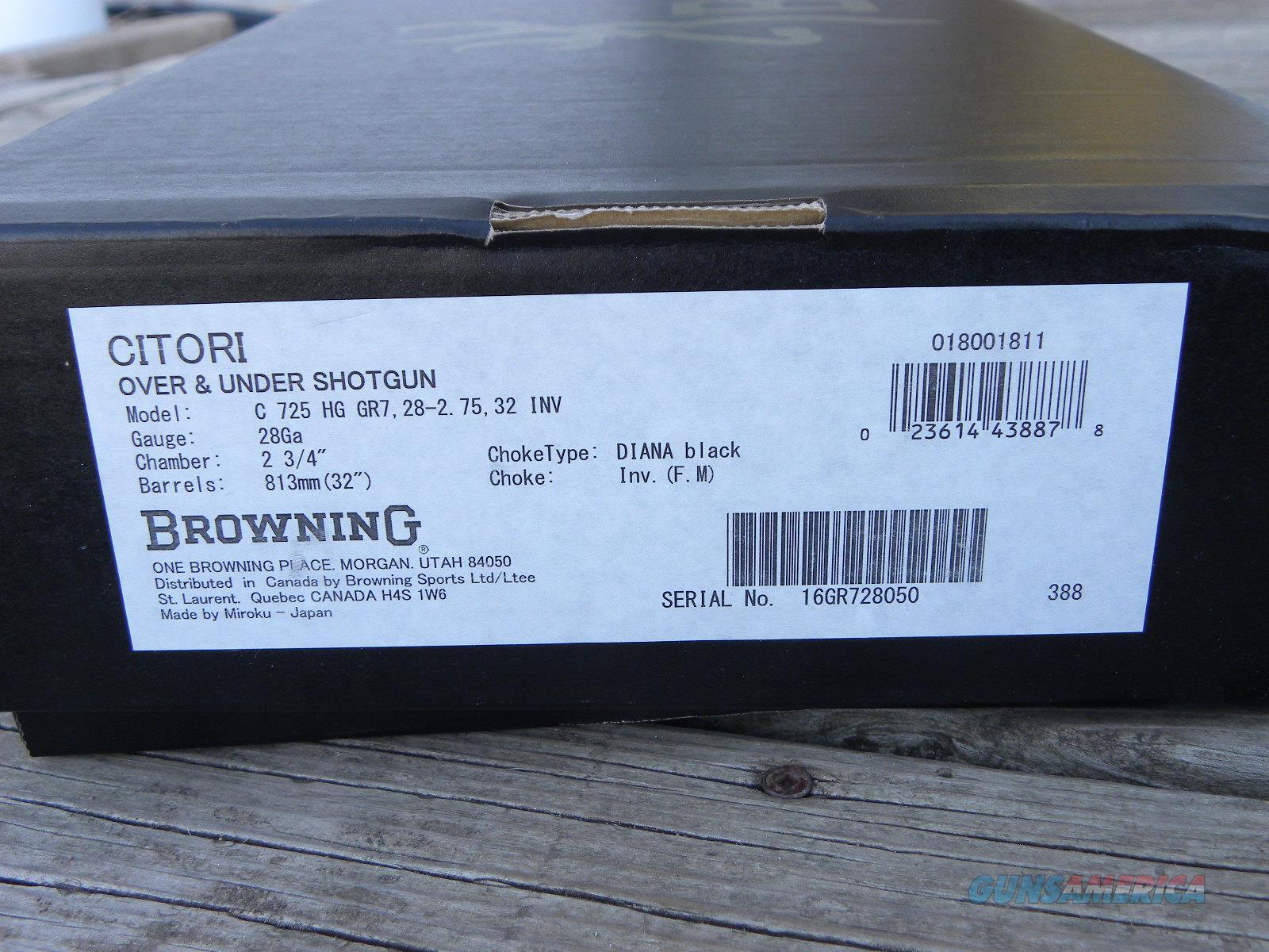 Browning Citori 725 28/32 Hi Grade VII 018001811  Guns > Shotguns > Browning Shotguns > Over Unders > Citori > Hunting