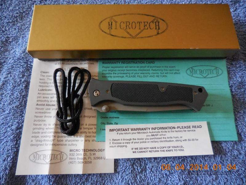 MICROTECH CHAMELEON NIB DUAL-ACTION DATED 04/96 SERIAL #258.  Non-Guns > Knives/Swords > Knives > Folding Blade > Hand Made
