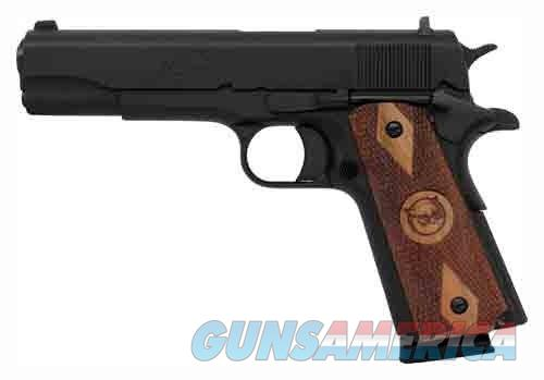 "Iver Johnson Semi Auto Handgun 1911A1 Standard .45 ACP 5"" Barrel 8 Rounds Checkered Wood Grips Blued Finish 1911A1  Guns > Pistols > Rock River Arms Pistols"