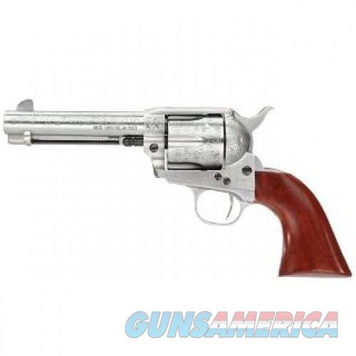 """Taylor's & Co Cattleman Floral Engraved .45 LC Single Action Revolver 4.75"""" Barrel 6 Rounds Walnut Grips White Heat-Treated Finish  Guns > Pistols > Taylors & Co. Pistols > Ctg."""