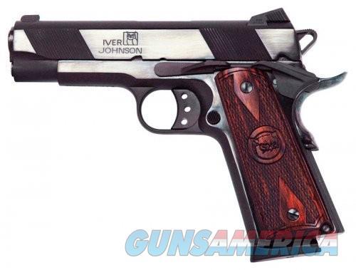 "Iver Johnson Hawk Semi Auto Handgun 1911A1 Standard .45 ACP 4.25"" Barrel 8 Rounds Checkered Wood Grips Blued Finish  Guns > Pistols > L Misc Pistols"