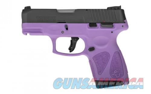 "Taurus G2S Slim 9mm Luger Semi Auto Pistol 3.2"" Barrel 7 Rounds Single Action with Restrike 3 Dot Sights Thumb Safety Light Purple Polymer Frame Black Finish  Guns > Pistols > L Misc Pistols"